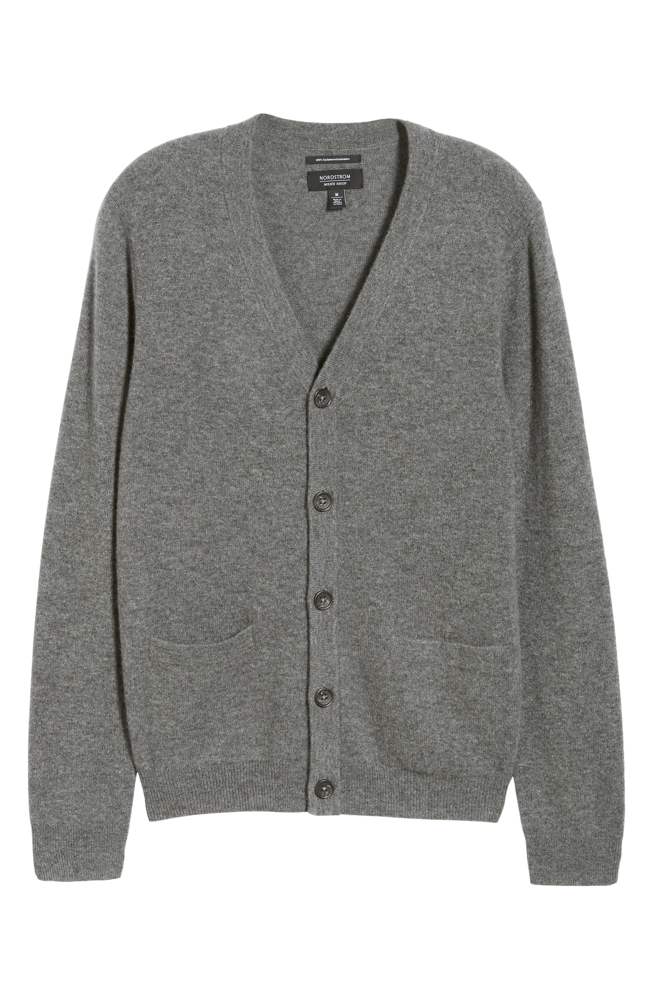 Cashmere Button Front Cardigan,                             Alternate thumbnail 6, color,                             Grey Filigree
