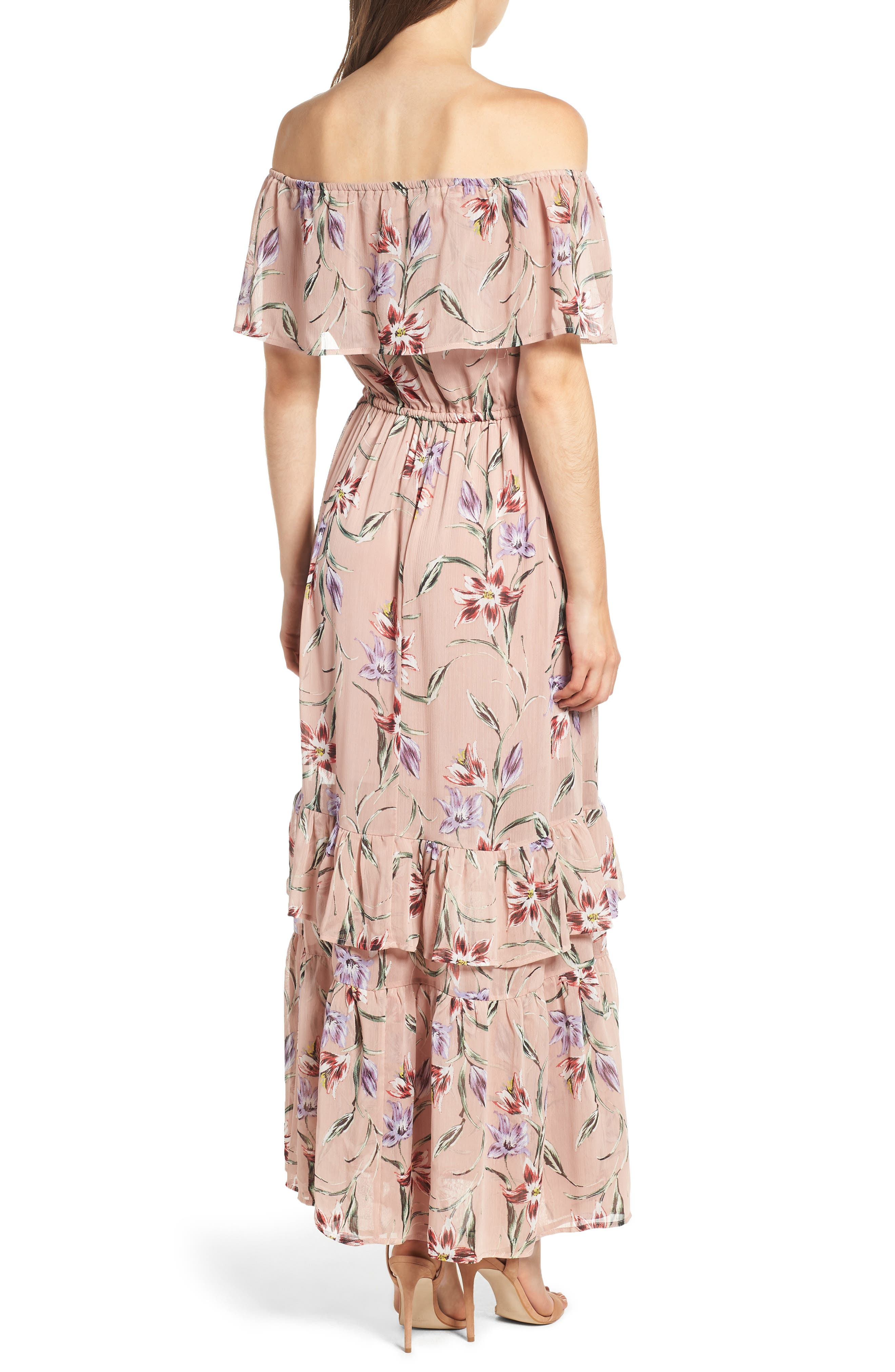 Off the Shoulder Maxi Dress,                             Alternate thumbnail 2, color,                             Nude Floral