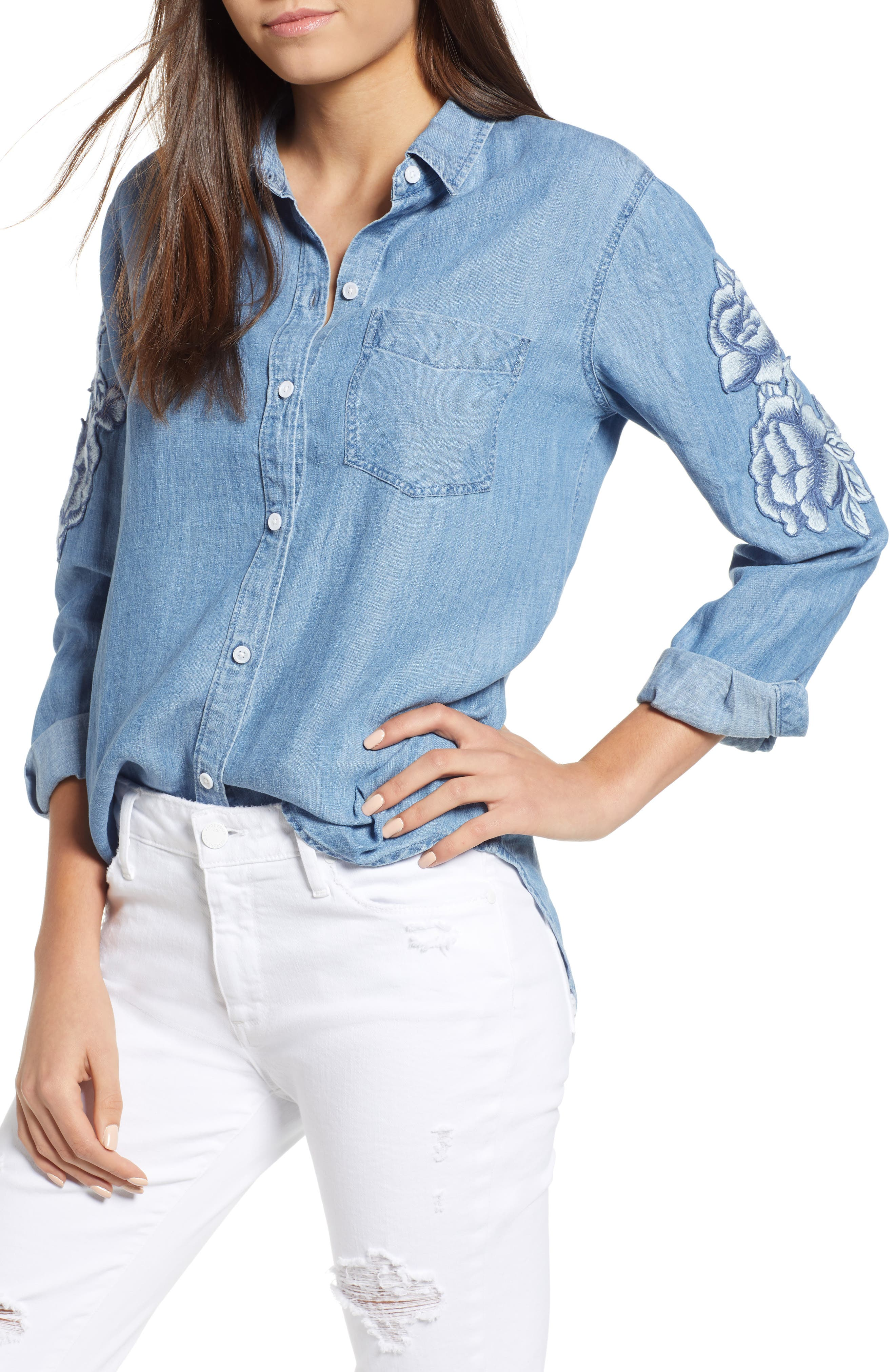 Ingrid Embroidered Chambray Shirt,                             Main thumbnail 1, color,                             Medium Vintage W/ White Floral