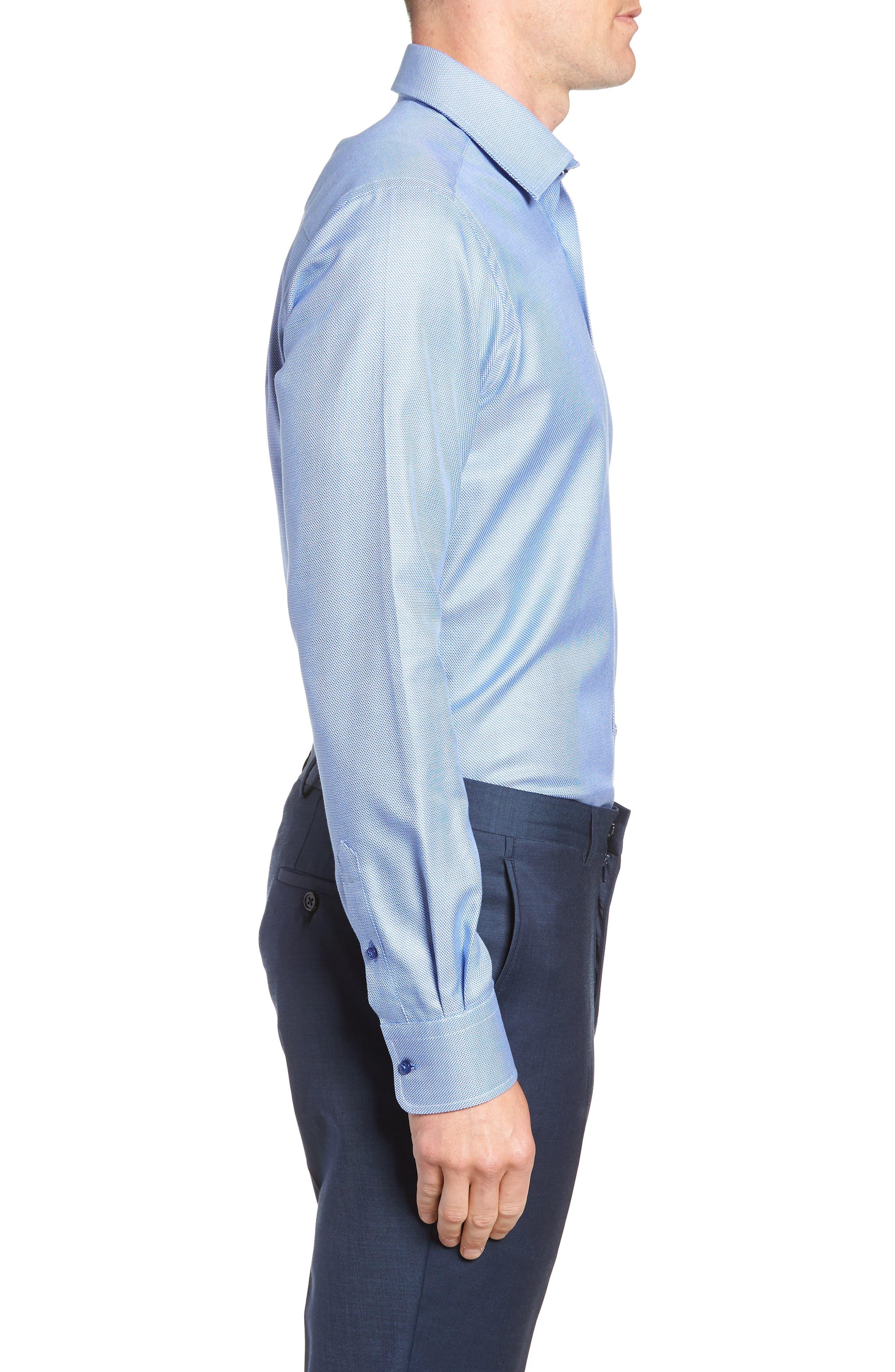 Slim Fit Solid Dress Shirt,                             Alternate thumbnail 4, color,                             Blue
