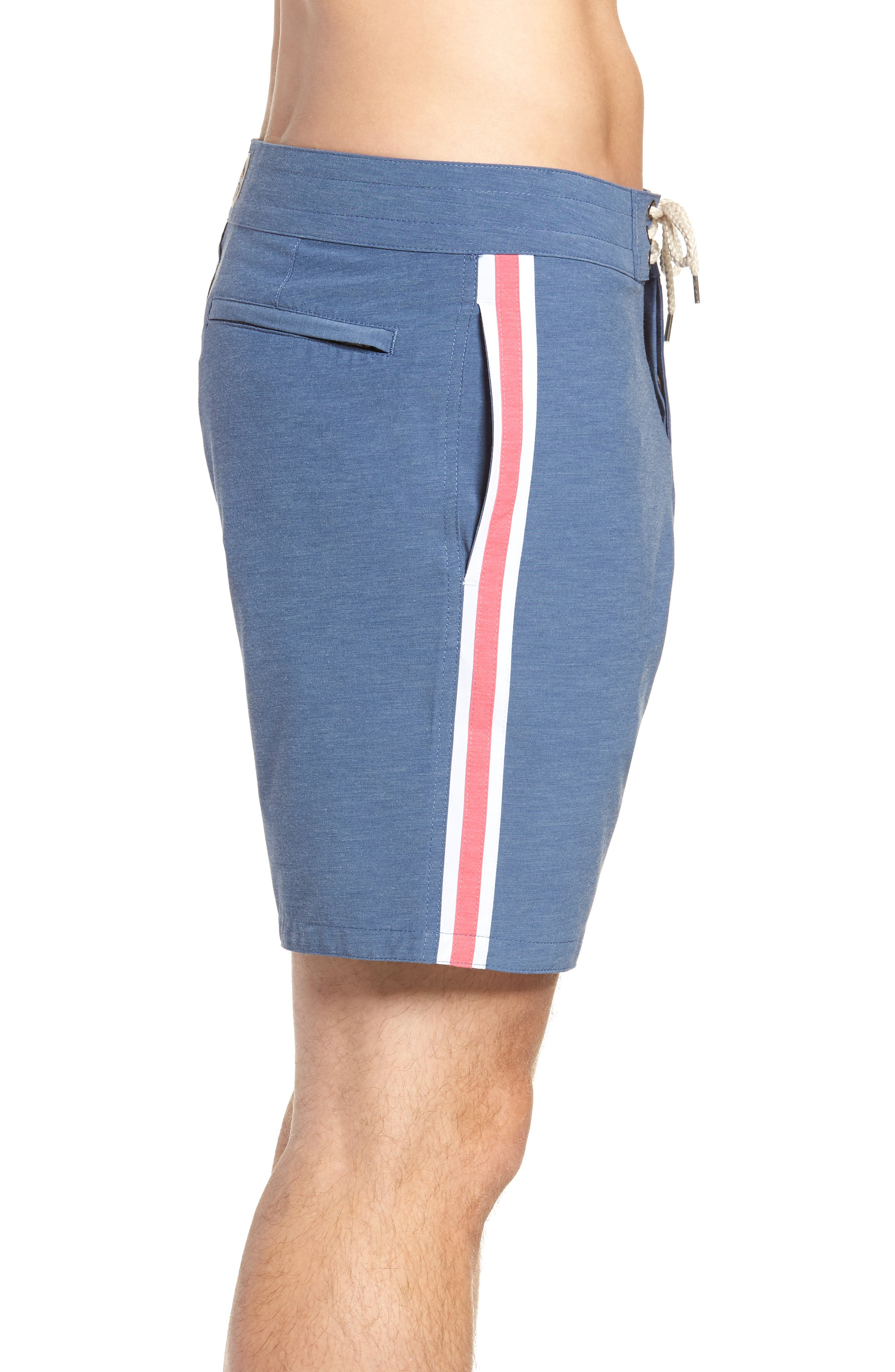 Retro Surf Stripe Board Shorts,                             Alternate thumbnail 5, color,                             Blue Red White