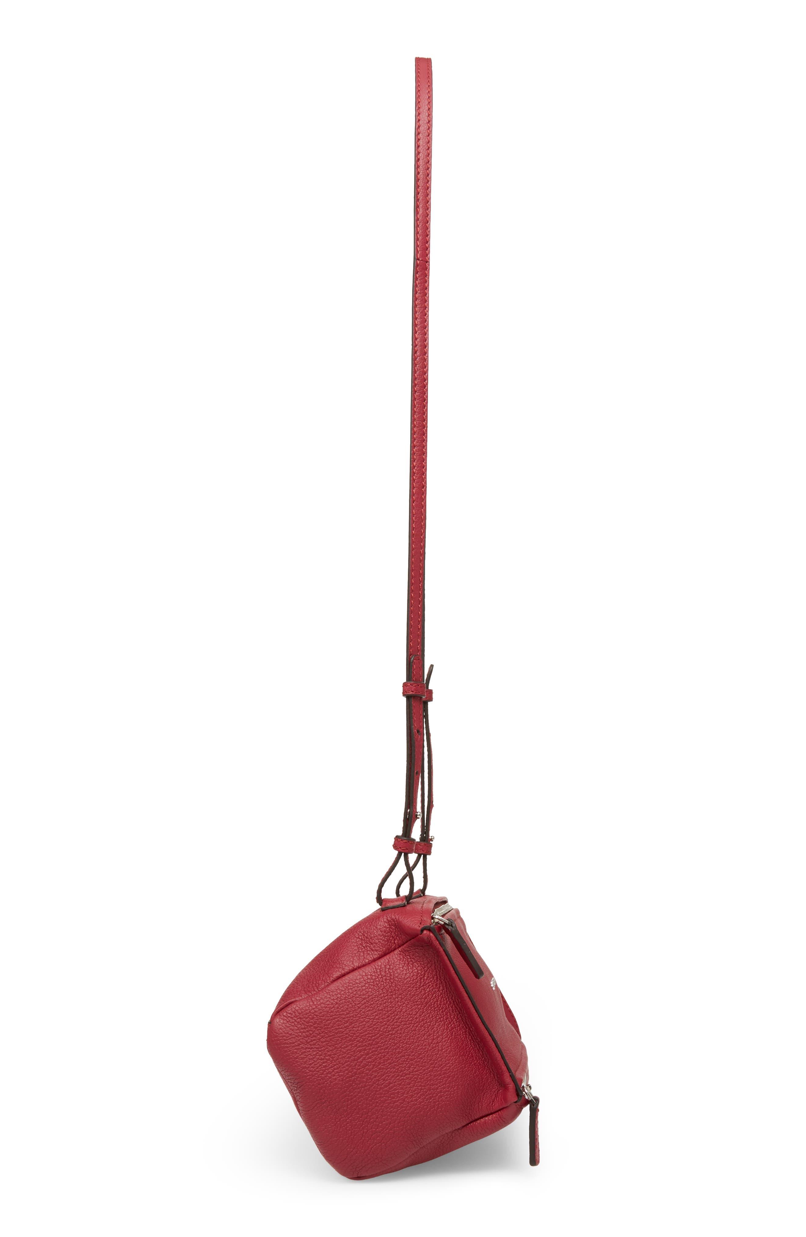 'Mini Pandora' Sugar Leather Shoulder Bag,                             Alternate thumbnail 4, color,                             Fig Pink