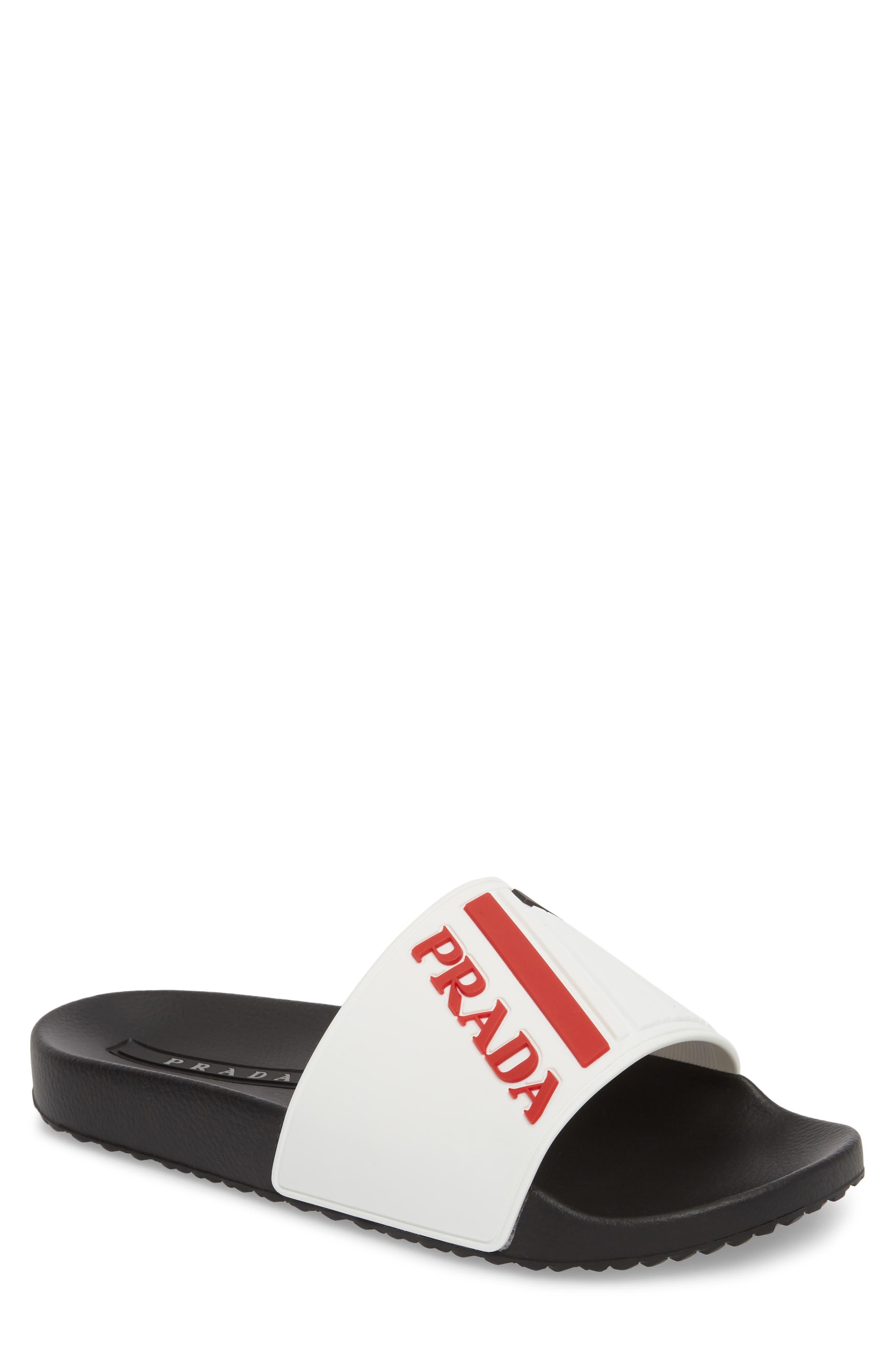 Linea Rossa Logo Slide Sandal,                             Main thumbnail 1, color,                             White/ Rosso