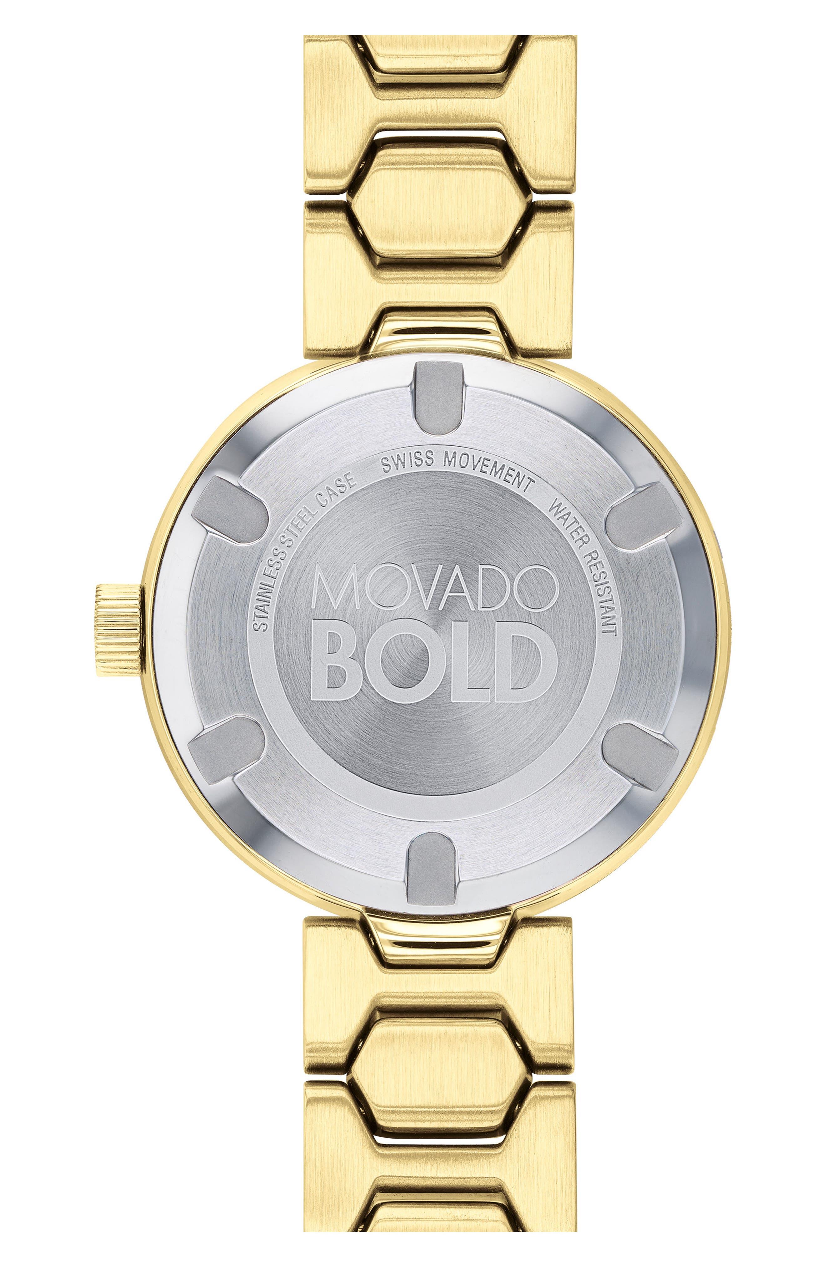 Bold Pavé T-Bar Bracelet Watch, 32mm,                             Alternate thumbnail 2, color,                             Gold