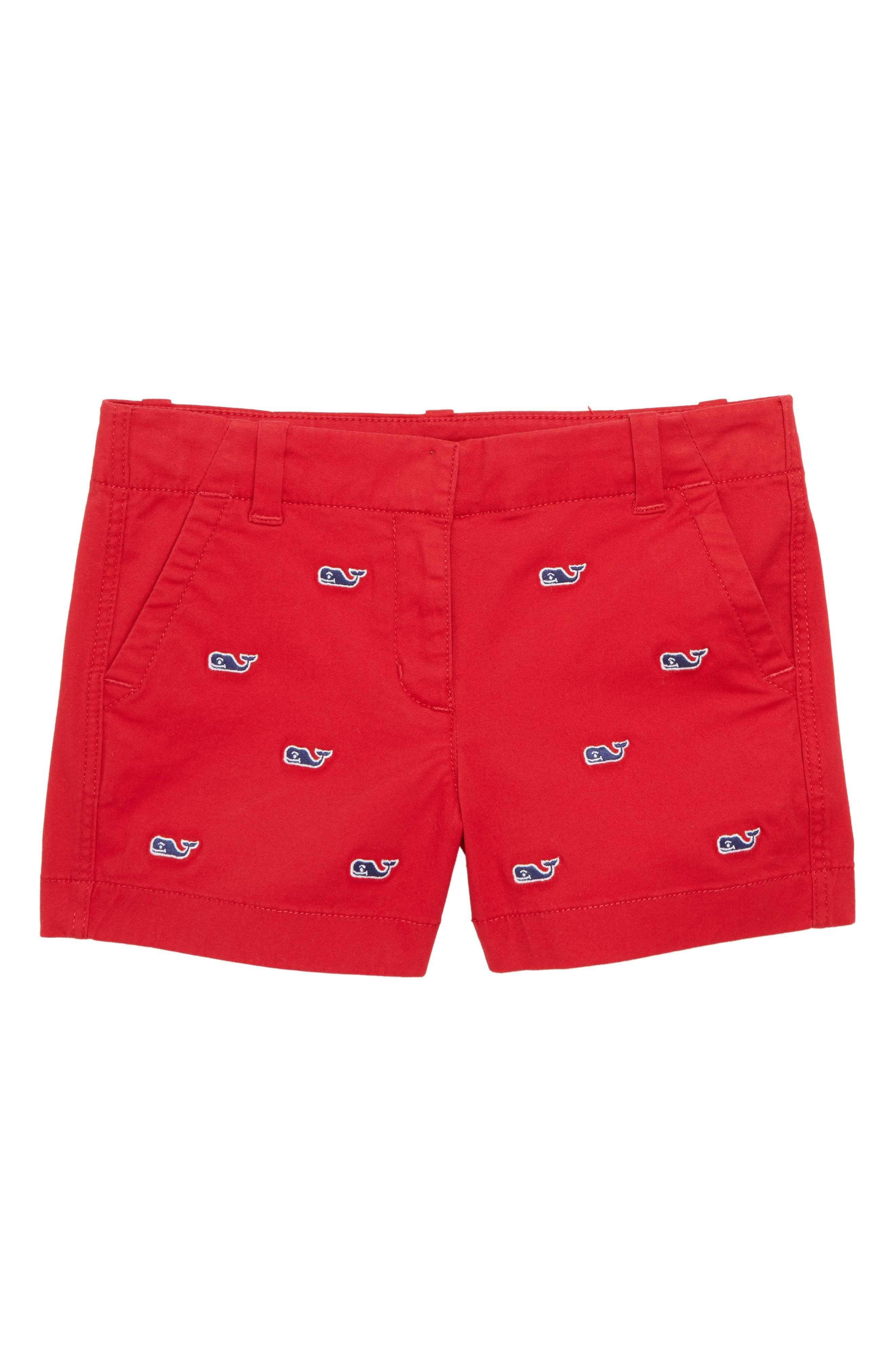 Whale Embroidered Chino Shorts,                             Main thumbnail 1, color,                             Red Velvet