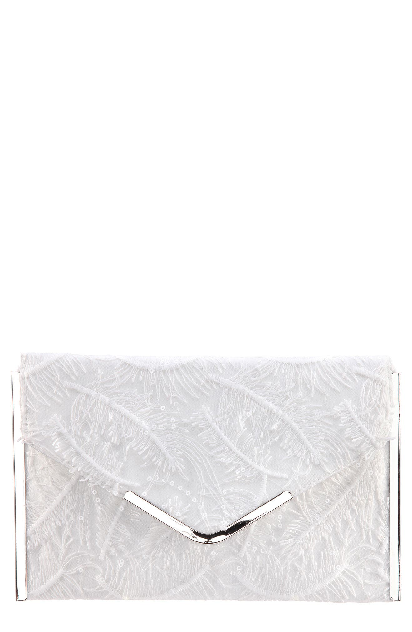 Embroidery Envelope Clutch Bag,                             Main thumbnail 1, color,                             Ivory