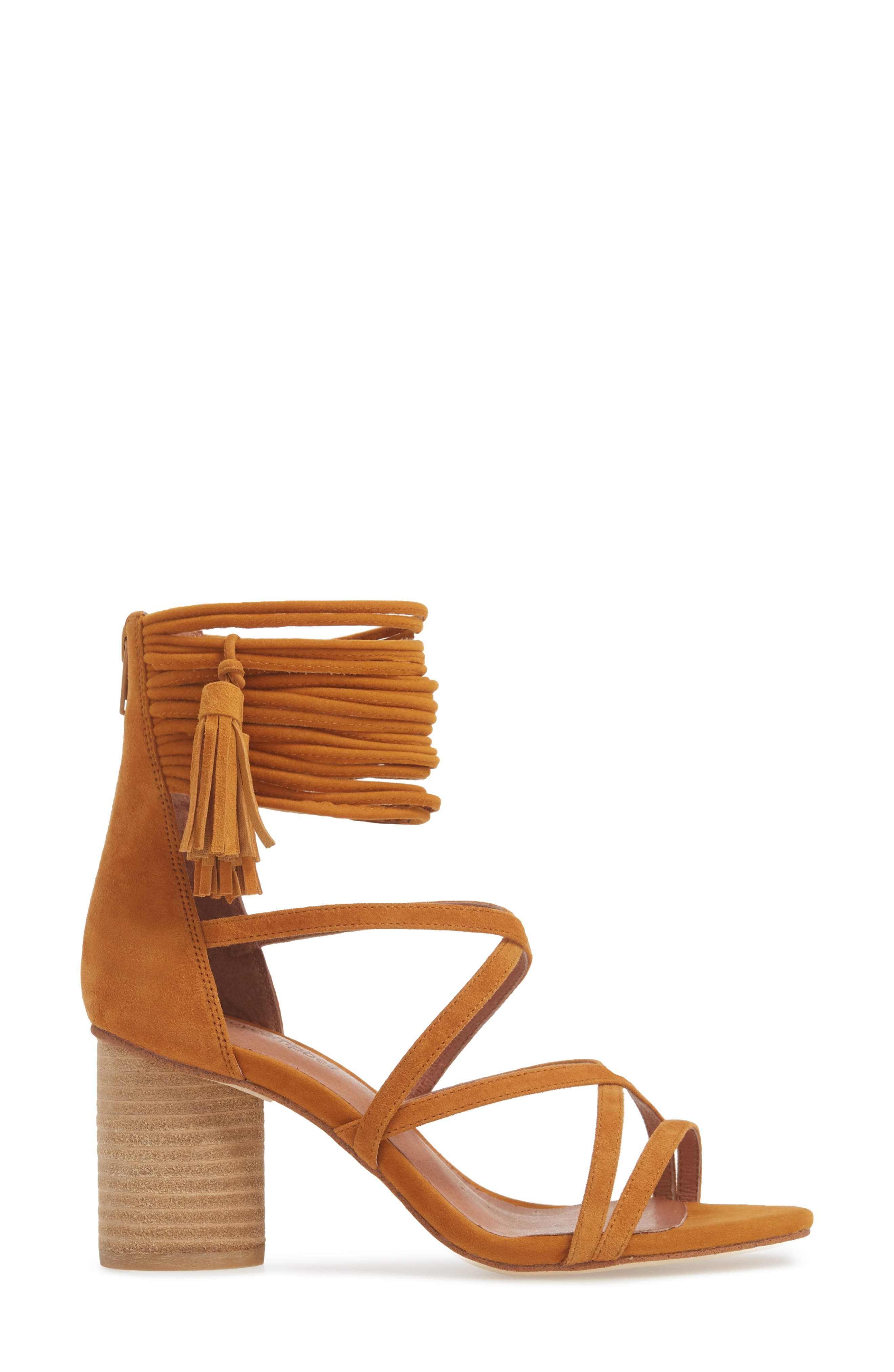 'Despina' Strappy Sandal,                             Alternate thumbnail 5, color,                             Mustard Suede