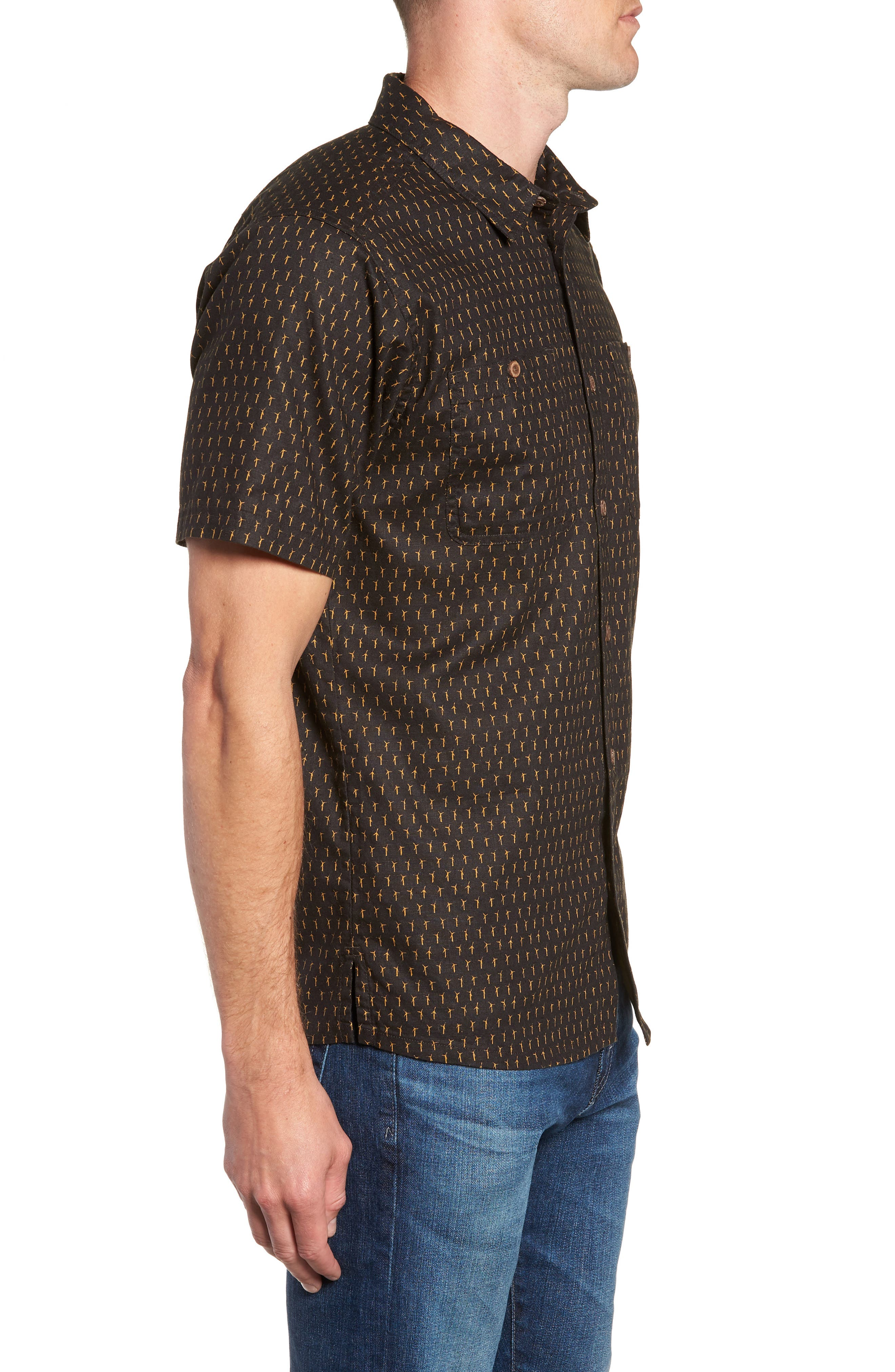 'Back Step' Regular Fit Check Short Sleeve Sport Shirt,                             Alternate thumbnail 4, color,                             Windmills/ Ink Black