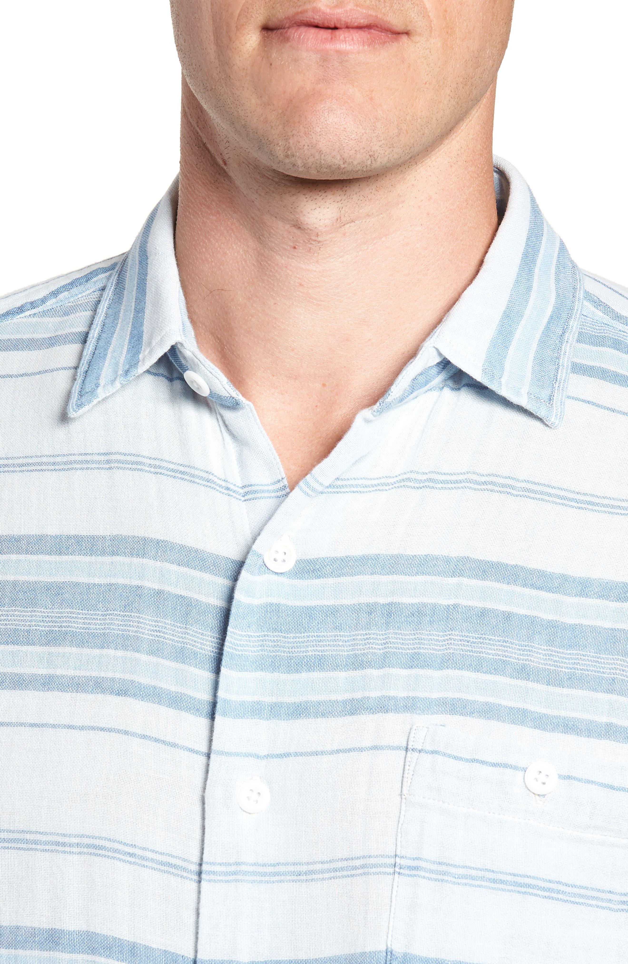 Ventura Double Cloth Short Sleeve Shirt,                             Alternate thumbnail 2, color,                             Light Indigo Serape
