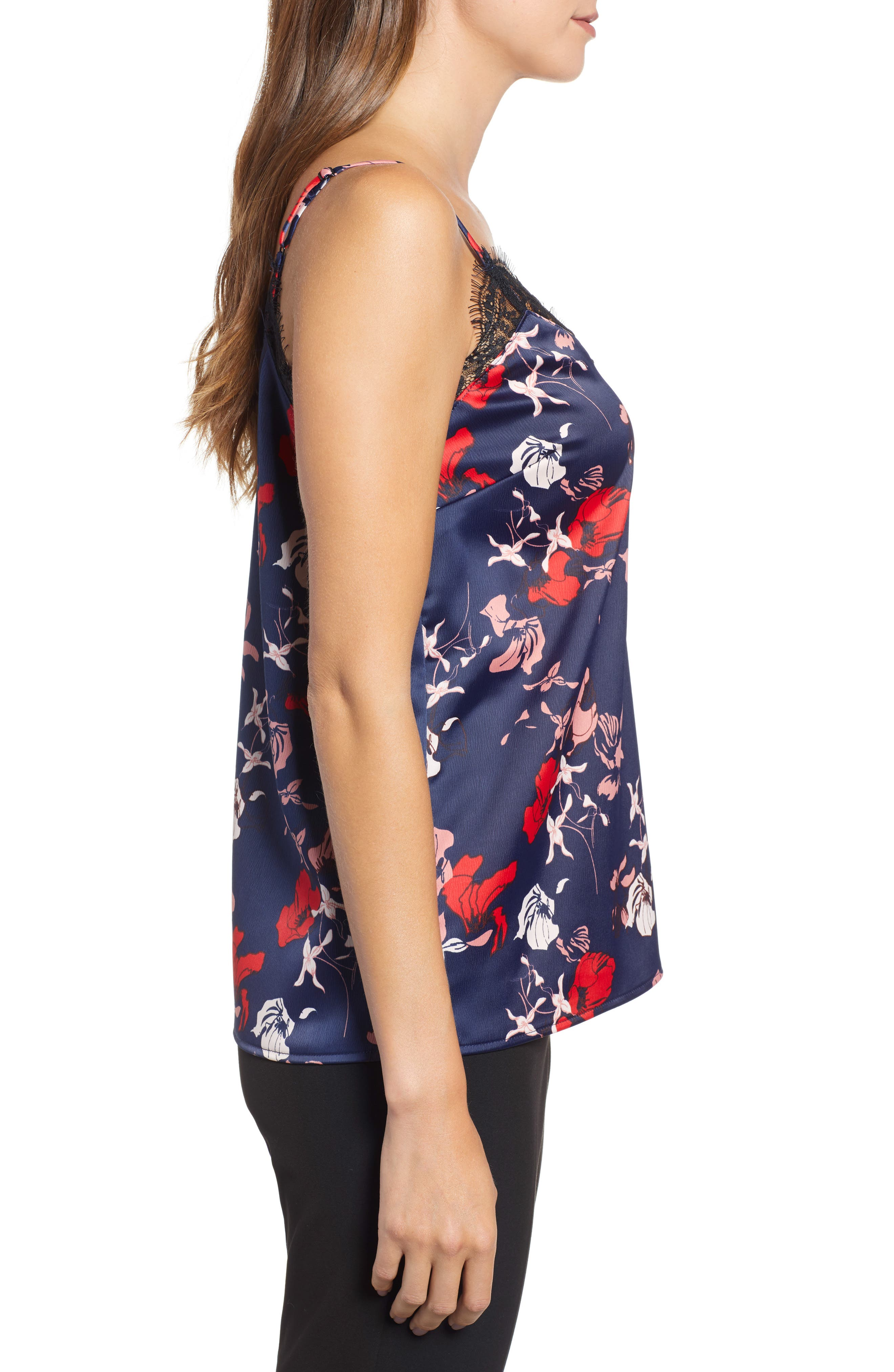 Lace Detail Camisole,                             Alternate thumbnail 3, color,                             Navy Sketchy Floral