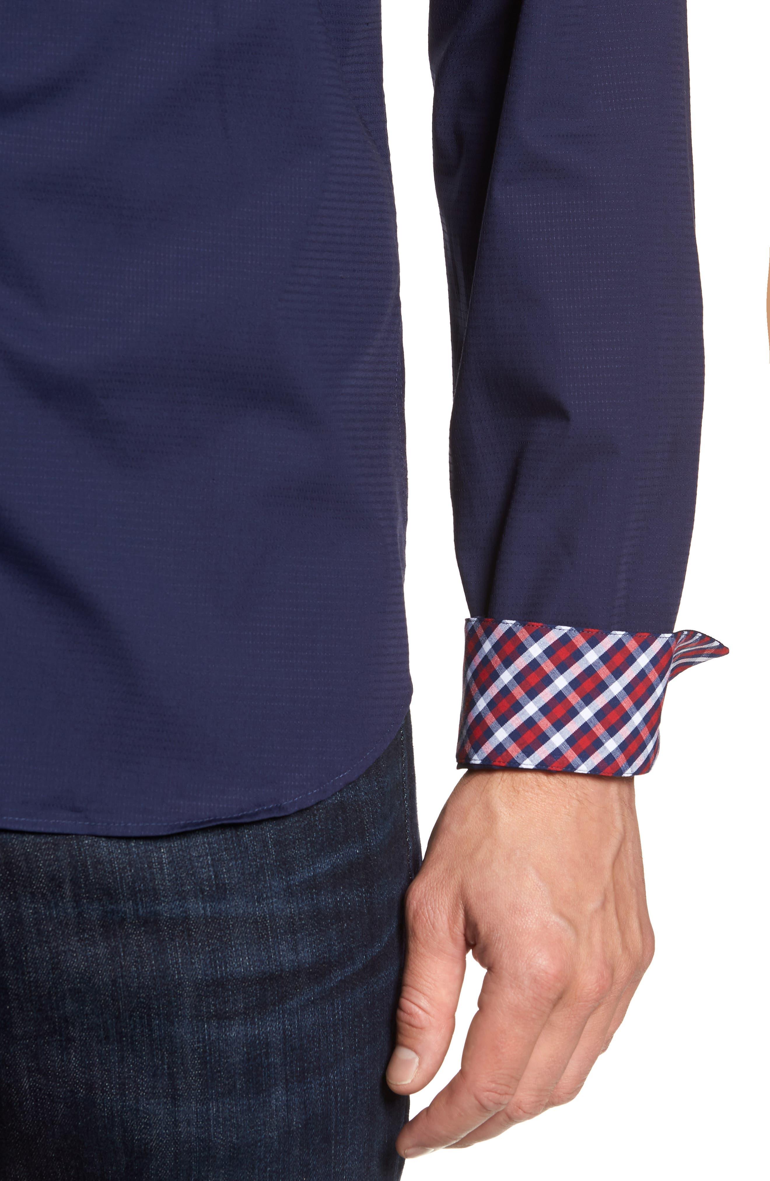 Trim Fit Sport Shirt,                             Alternate thumbnail 2, color,                             Navy Blue