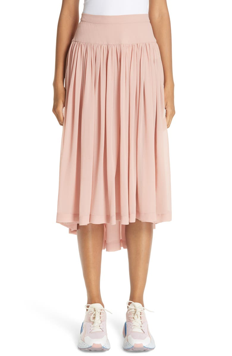 Andrea Gathered Silk Midi Skirt