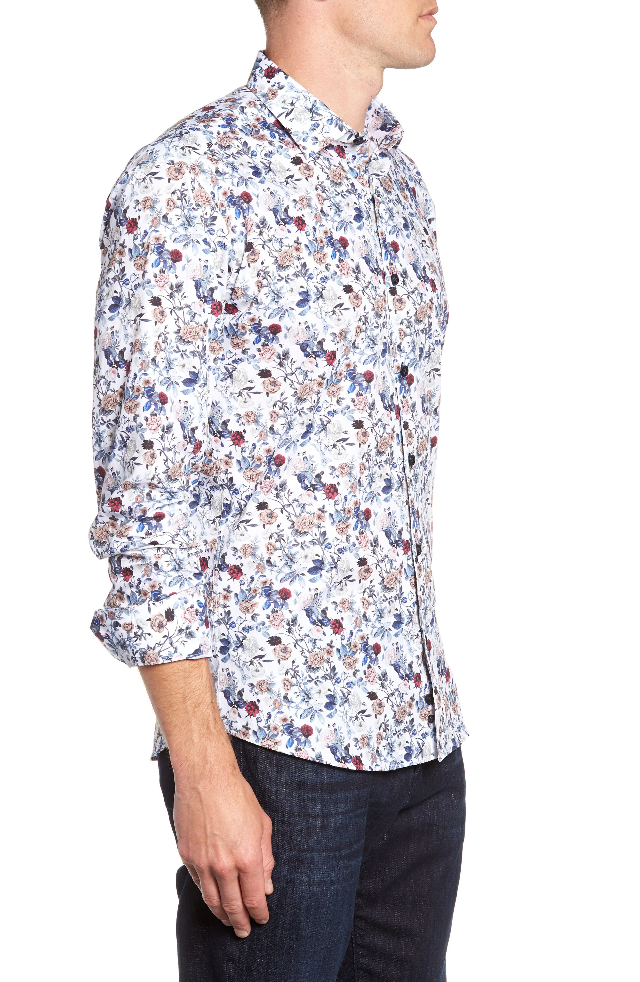 Floral Sport Shirt,                             Alternate thumbnail 4, color,                             White Navy Print