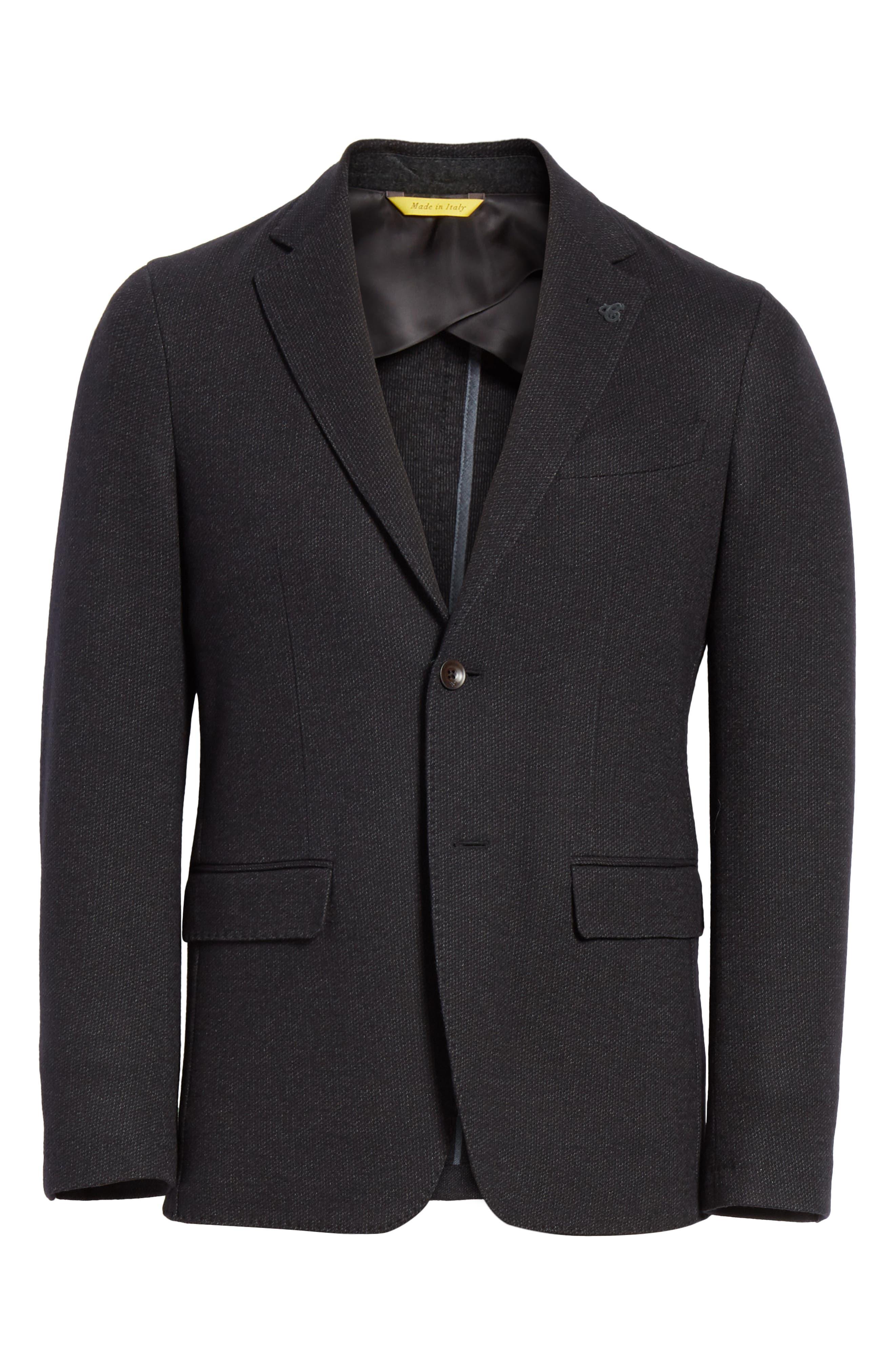 Slim Fit Wool & Cotton Blazer,                             Alternate thumbnail 6, color,                             Grey