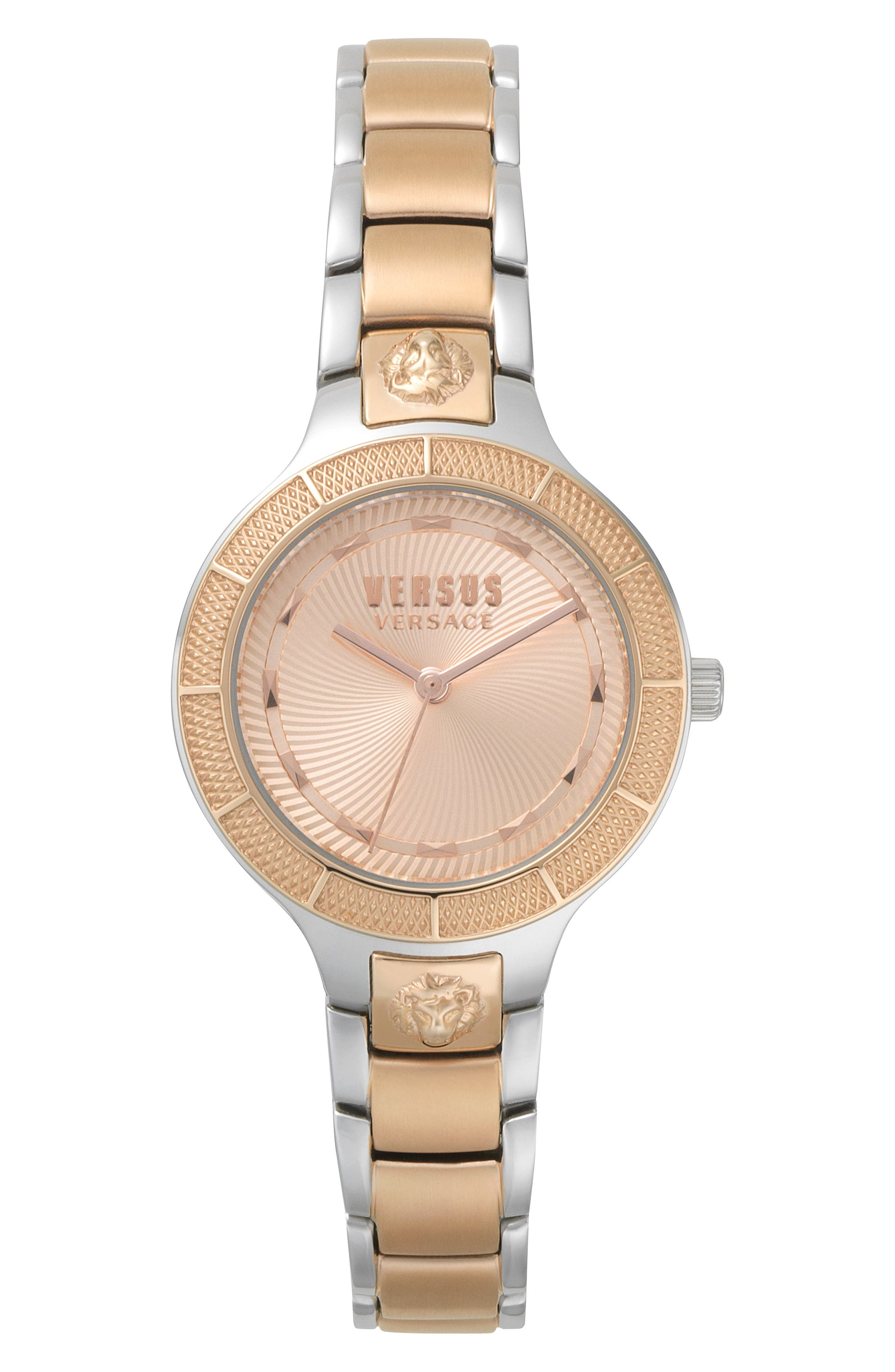 VERSUS by Versace Claremont Bracelet Watch, 32mm,                             Main thumbnail 1, color,                             Silver/ Rose Gold