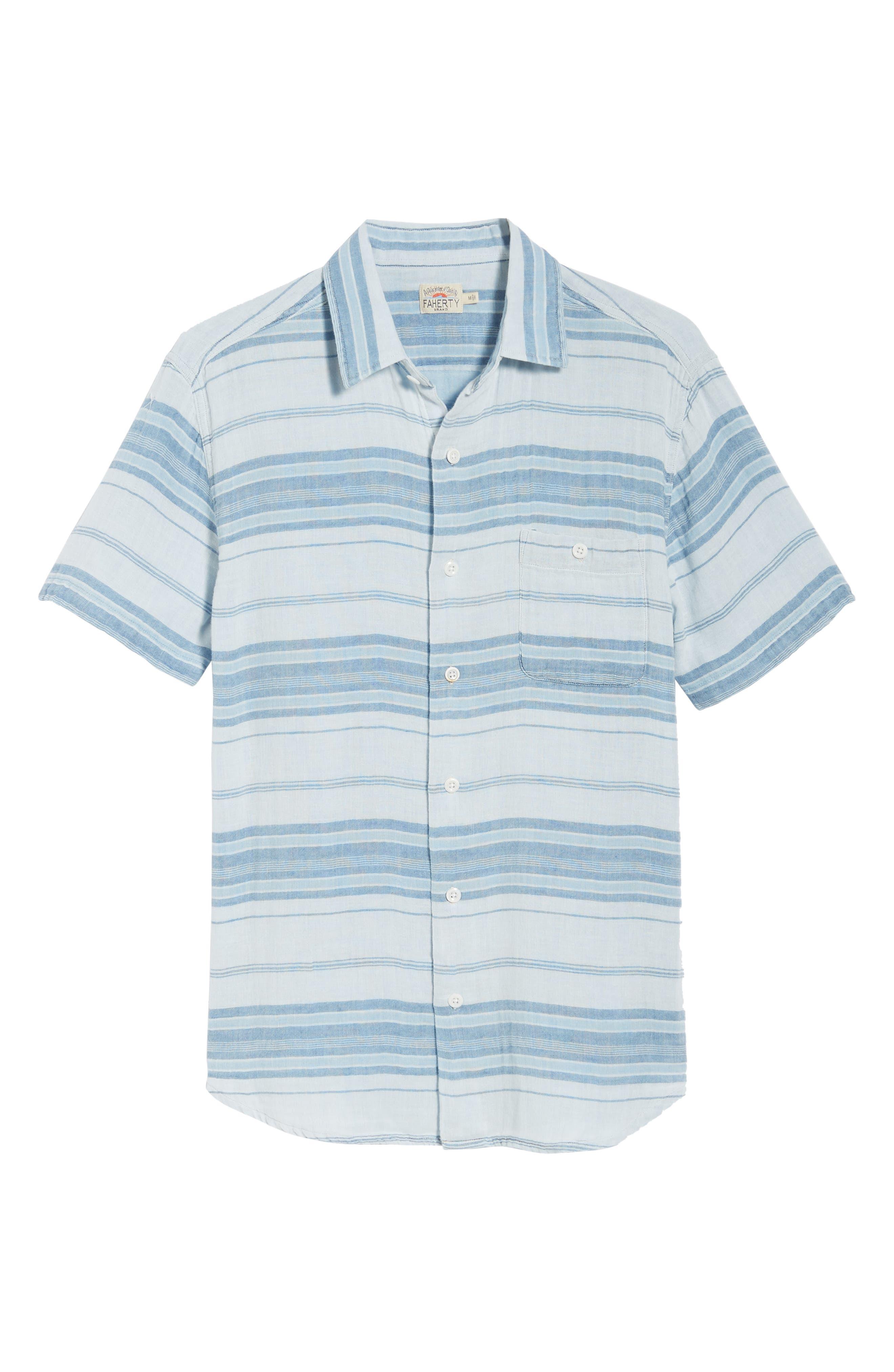 Ventura Double Cloth Short Sleeve Shirt,                             Alternate thumbnail 6, color,                             Light Indigo Serape
