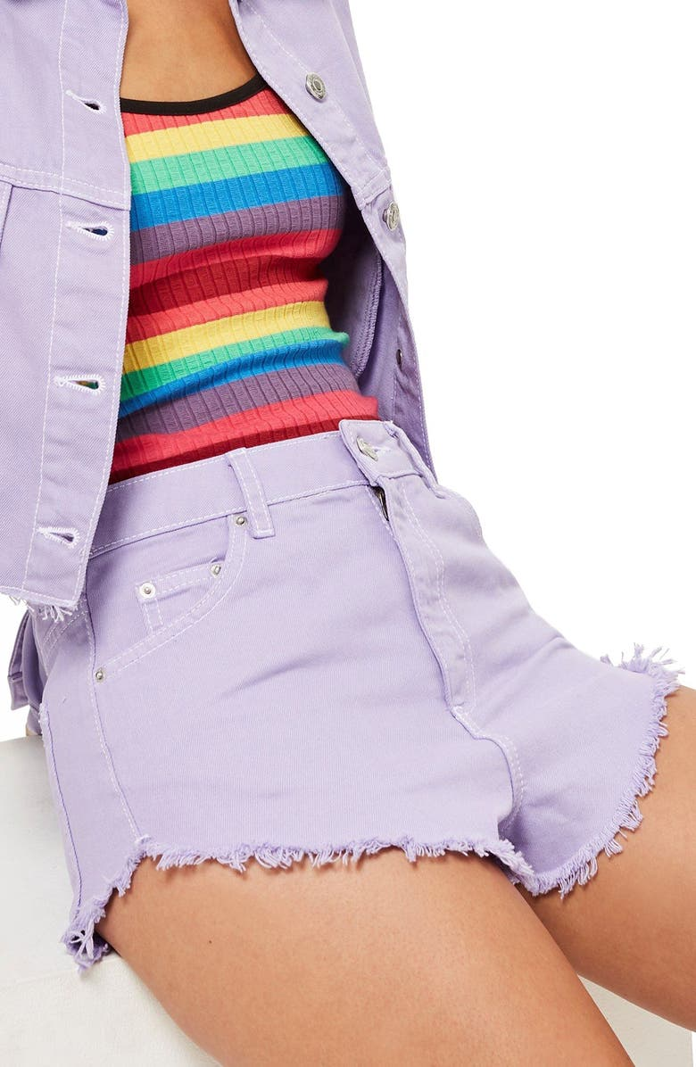 MOTO Fray Hem Denim Shorts
