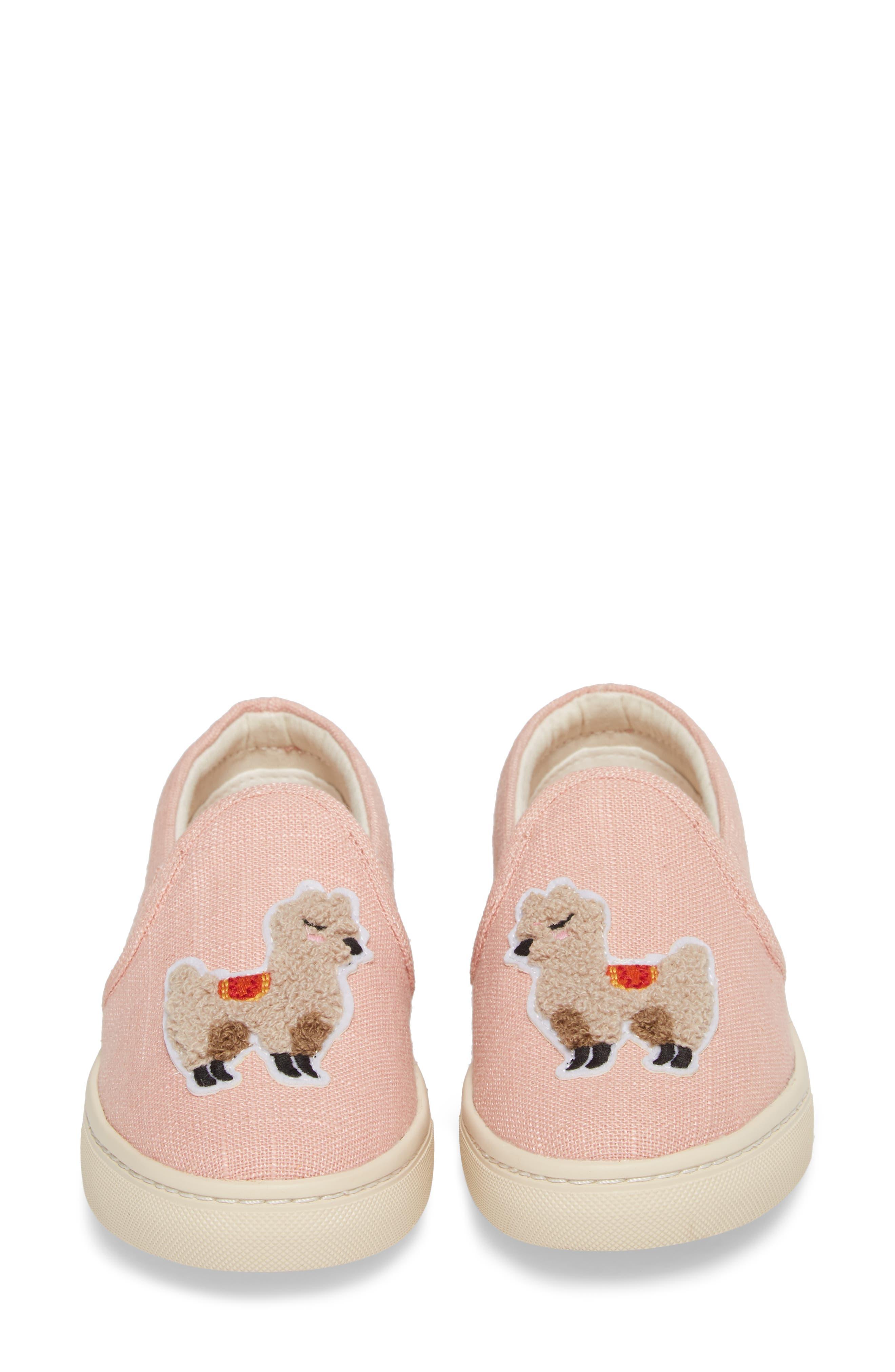 Llama Slip-On Sneaker,                             Alternate thumbnail 5, color,                             Dusty Rose Fabric