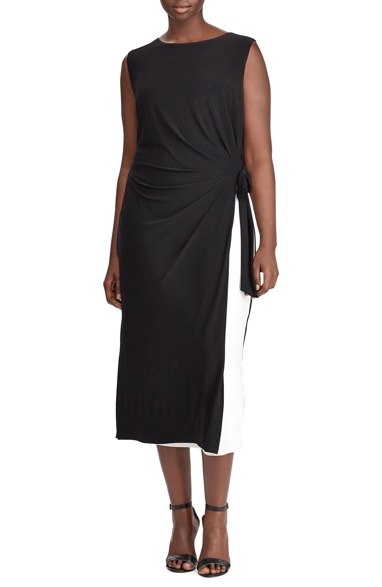 Lauren Ralph Lauren Two-Tone Shift Dress (Plus Size)