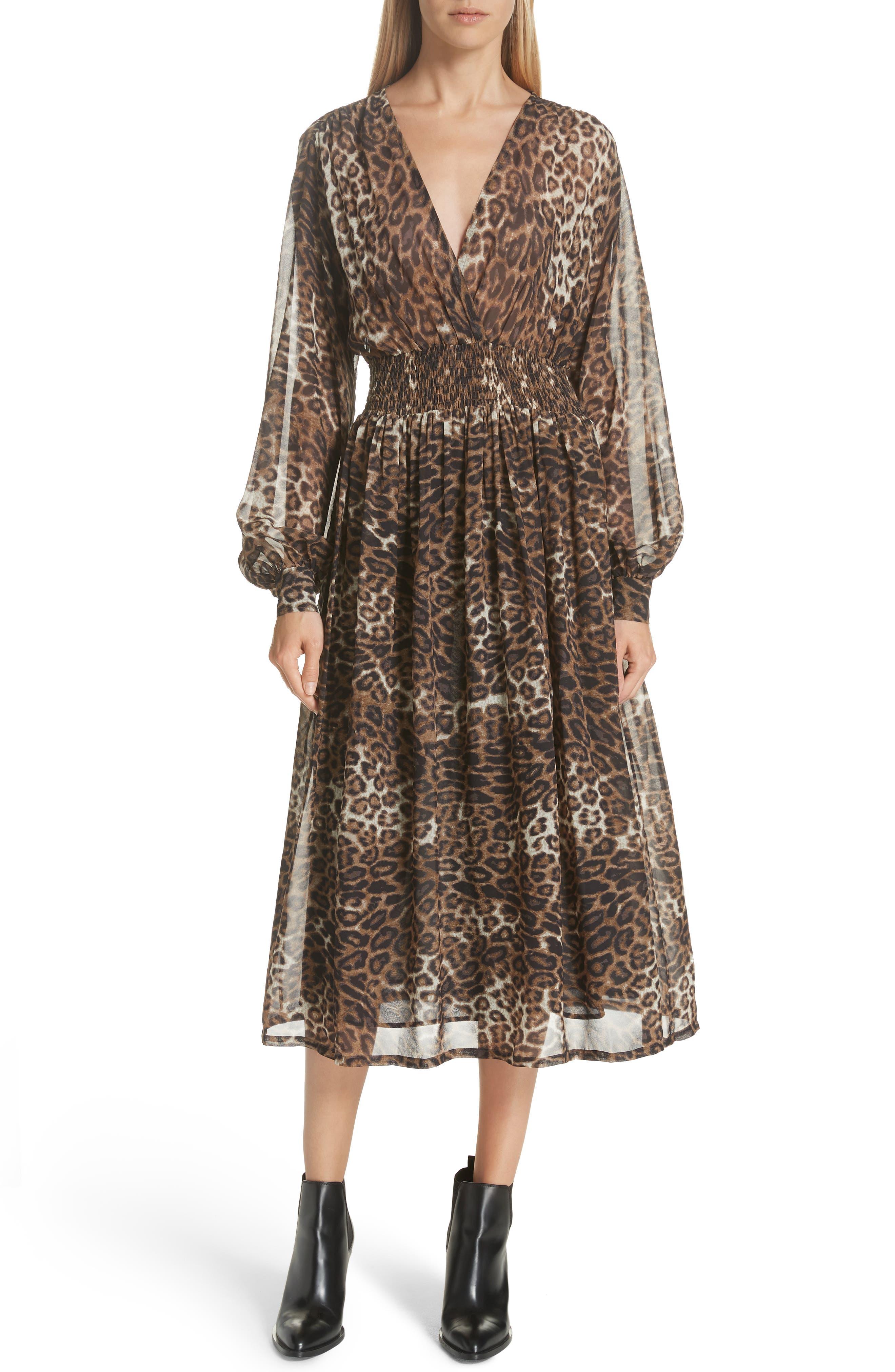 Brienne Leopard Print Silk Chiffon Dress