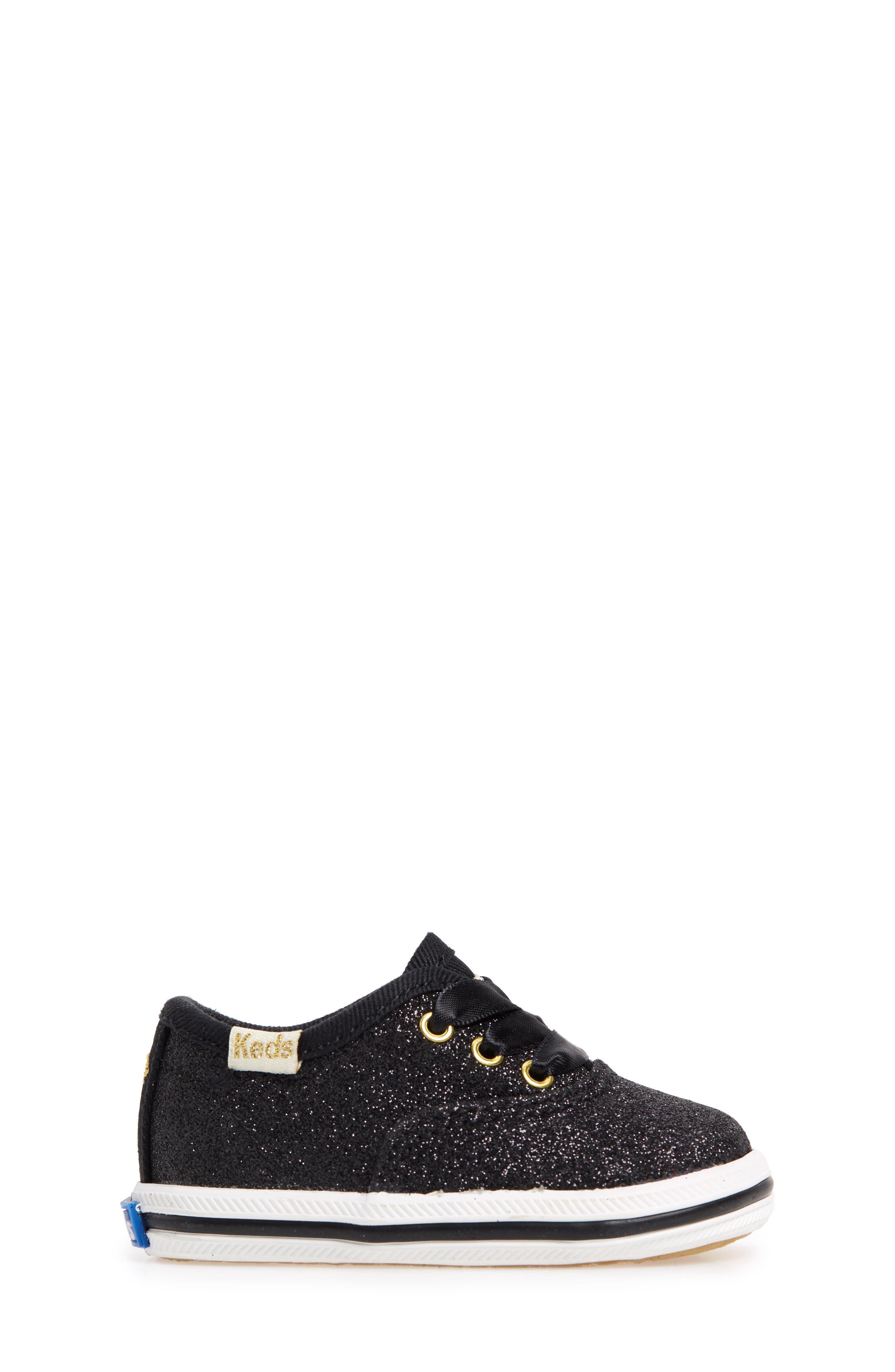x kate spade new york Champion Glitter Crib Shoe,                             Alternate thumbnail 3, color,                             Black
