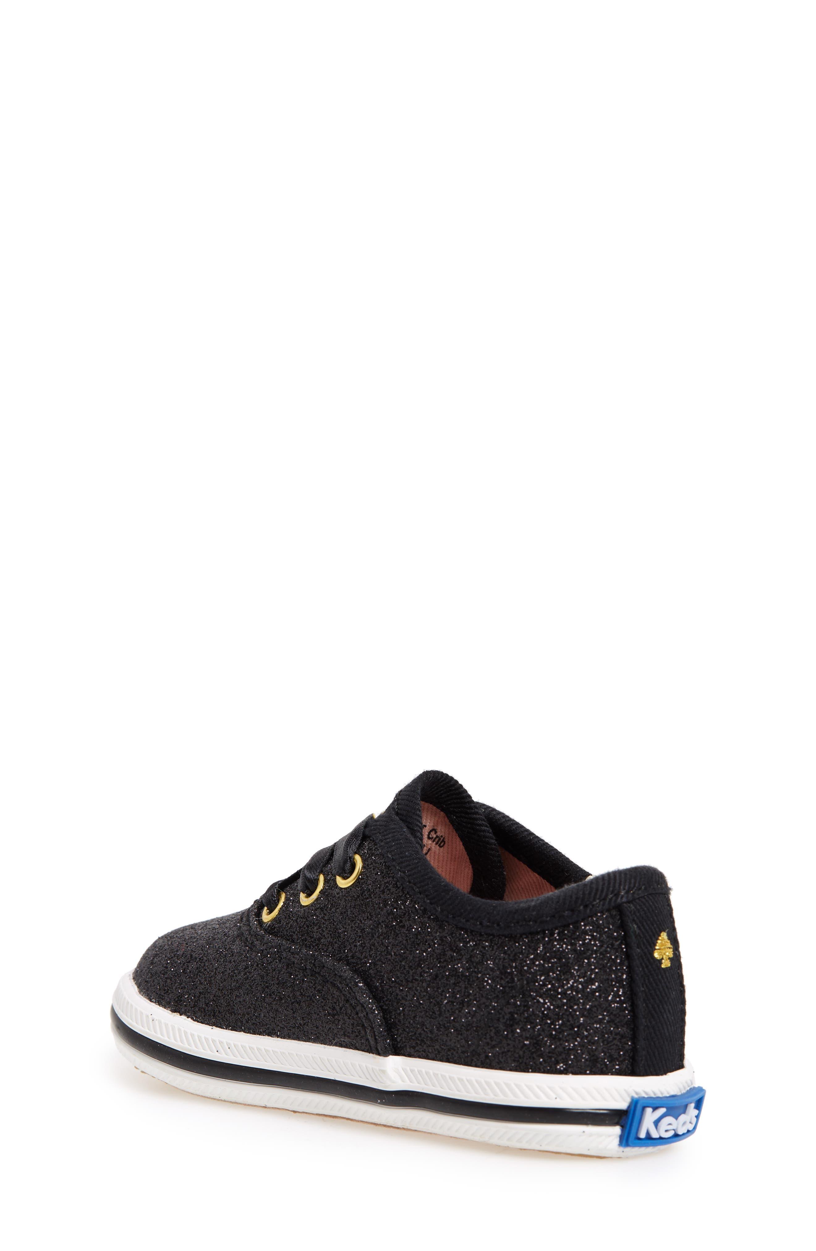 x kate spade new york Champion Glitter Crib Shoe,                             Alternate thumbnail 2, color,                             Black