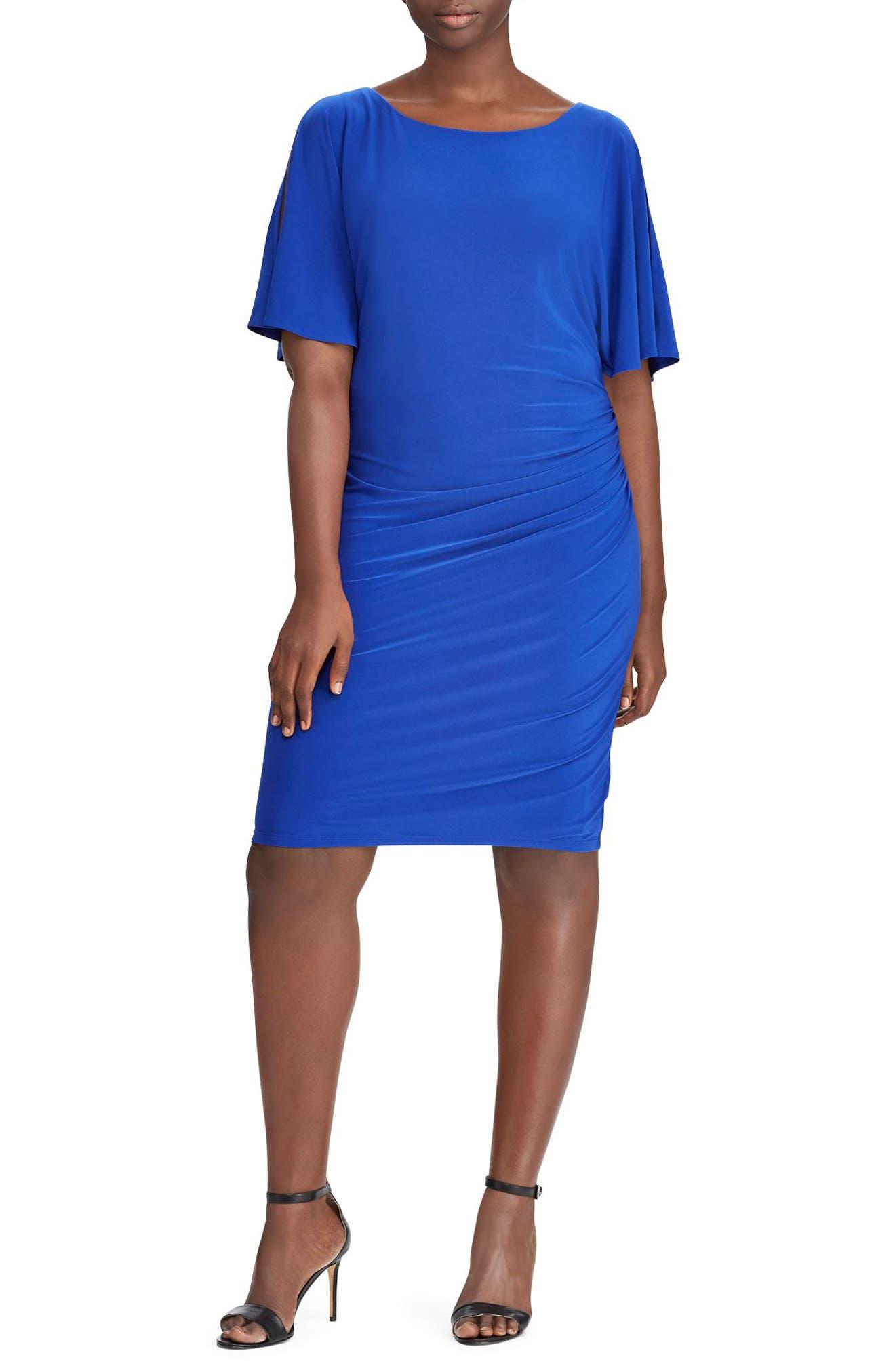 Lauren Ralph Lauren Maia Ruched Jersey Sheath Dress (Plus Size)