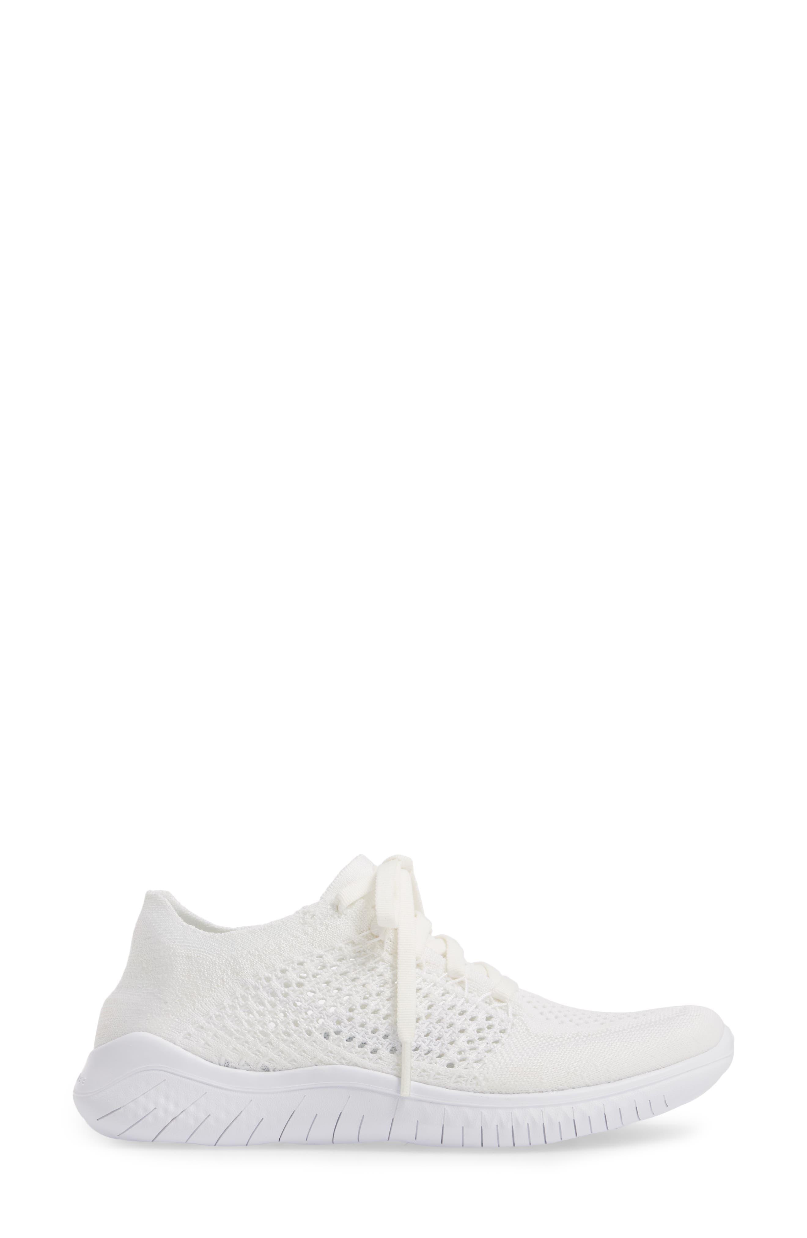Free RN Flyknit 2018 Running Shoe,                             Alternate thumbnail 6, color,                             White/ White