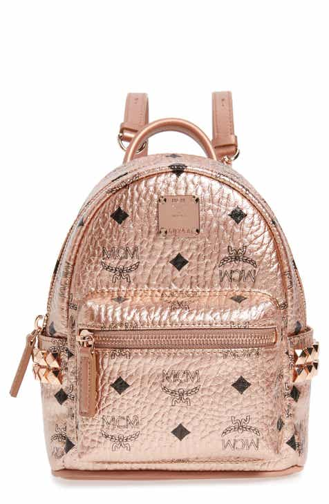 Mcm X Mini Stark Side Stud Coated Canvas Backpack