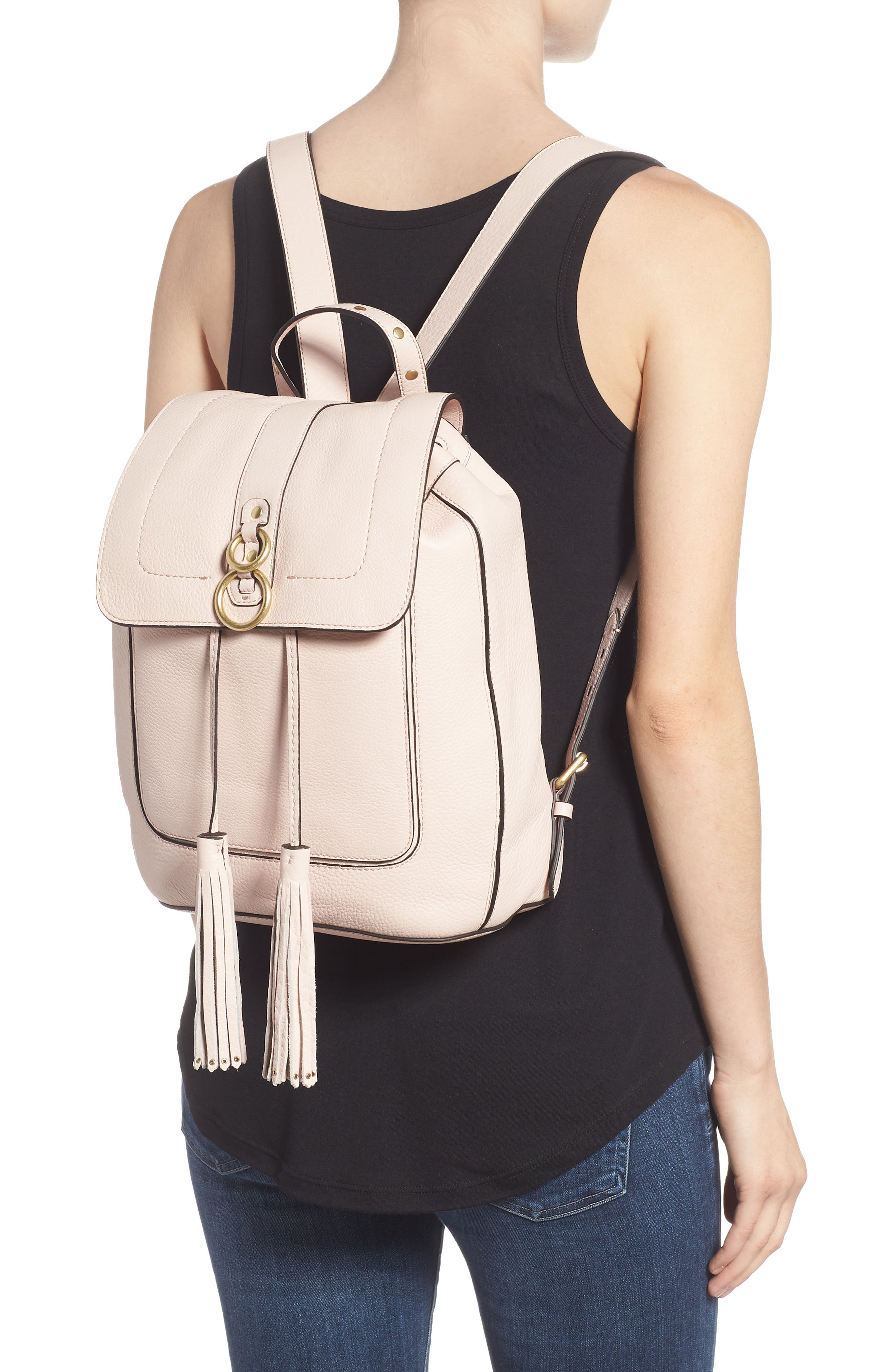 Cassidy RFID Pebbled Leather Backpack,                             Alternate thumbnail 2, color,                             Peach Blush