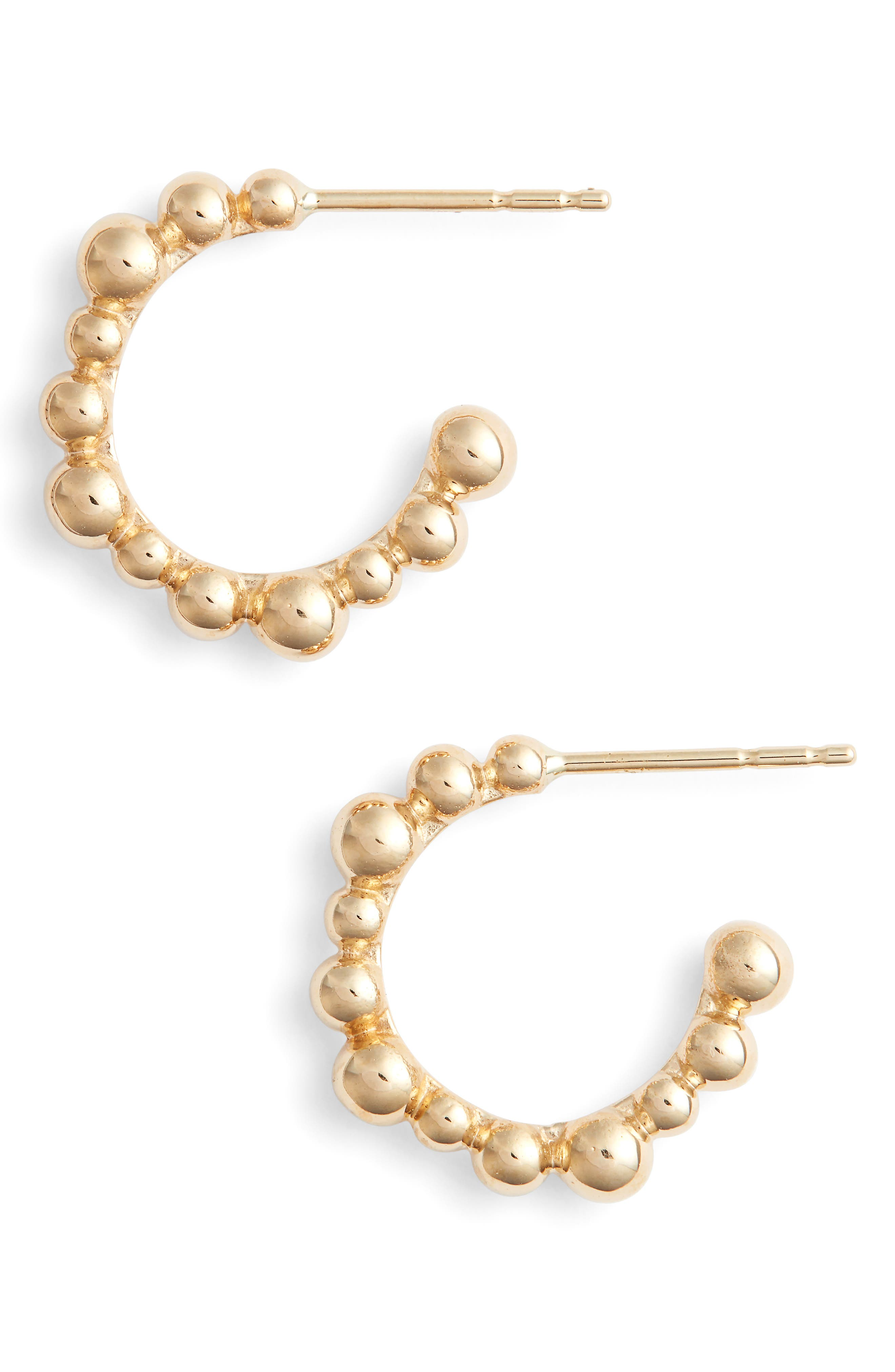 Bubbling Brook Hoop Earrings,                             Main thumbnail 1, color,                             Gold