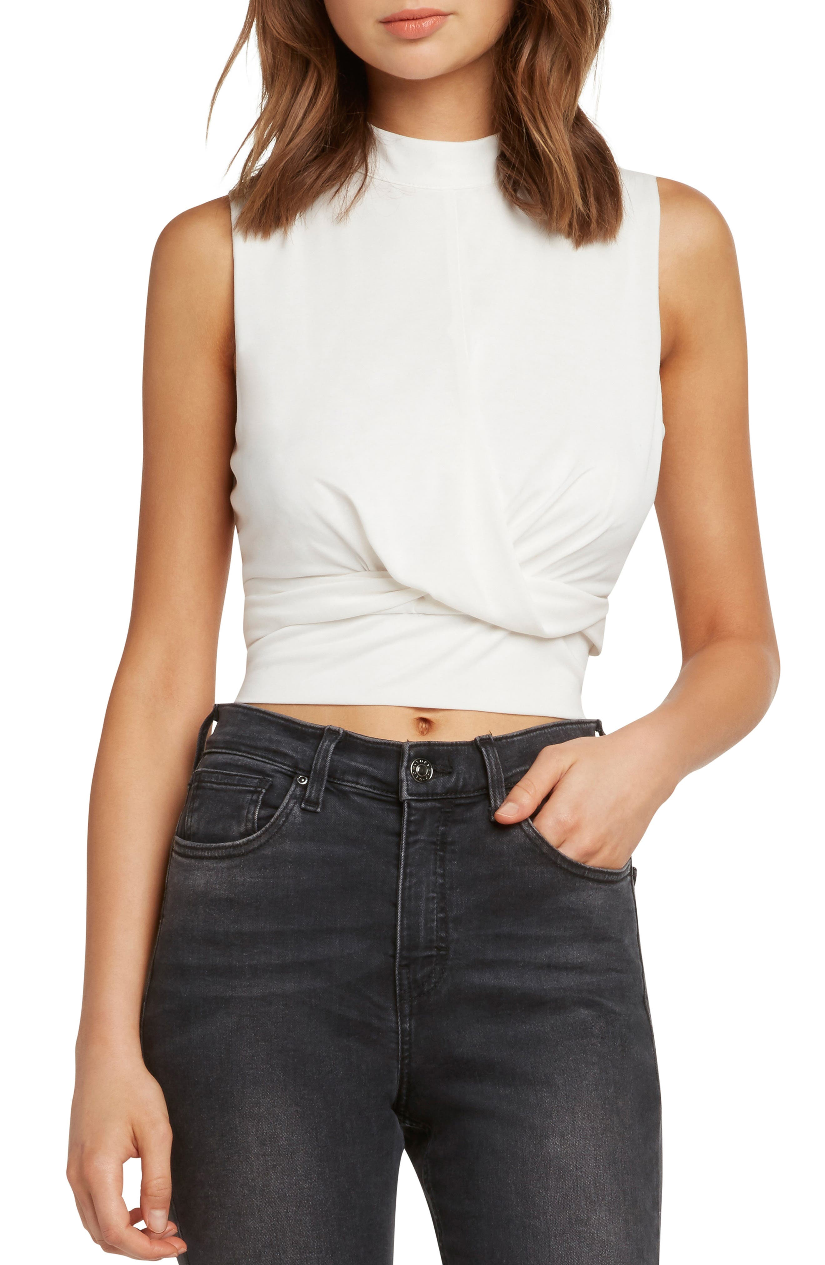 WILLOW & CLAY TWIST FRONT SLEEVELESS CROP TOP