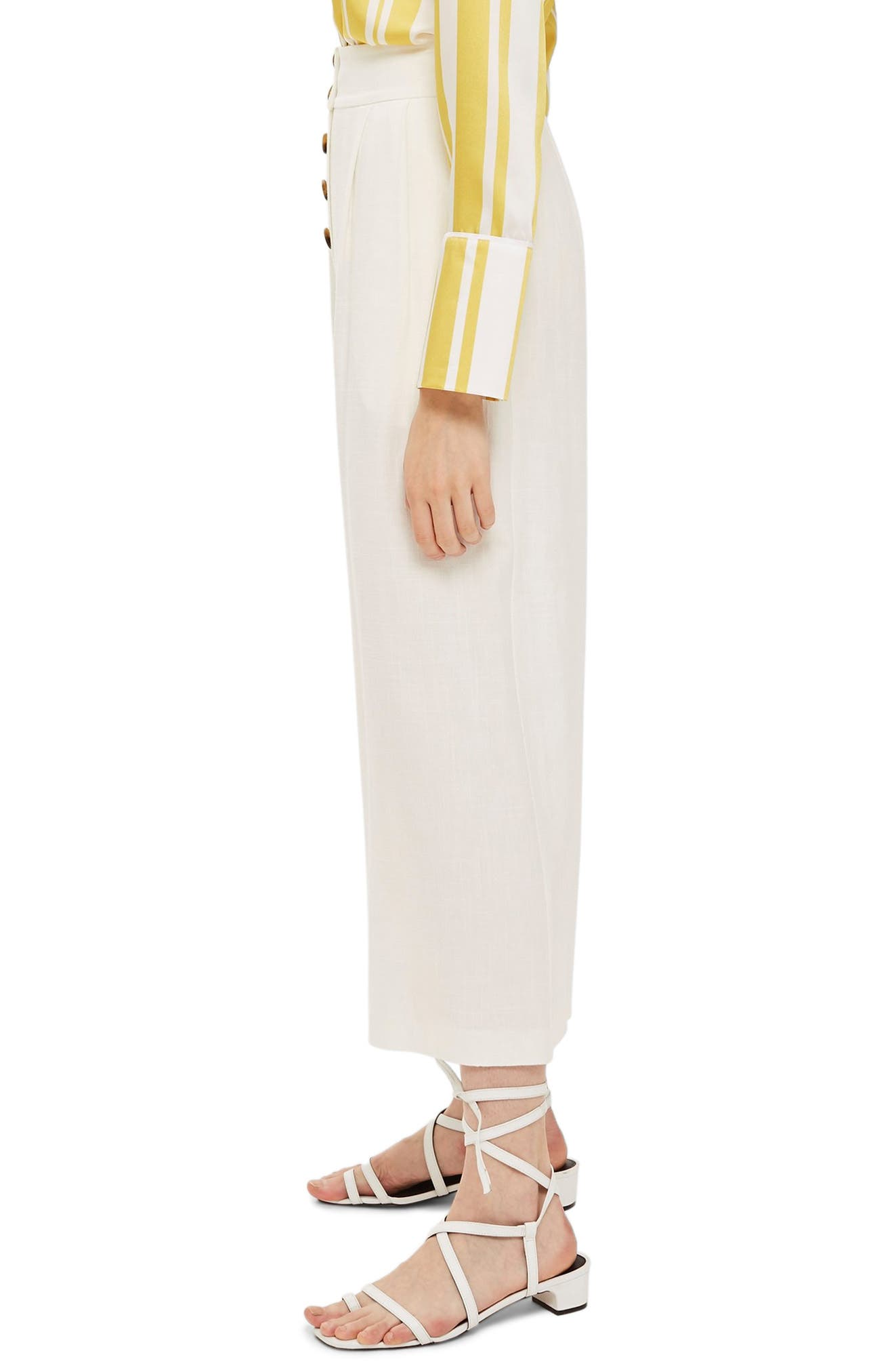 Horn Button Crop Wide Leg Trousers,                             Alternate thumbnail 4, color,                             Ivory