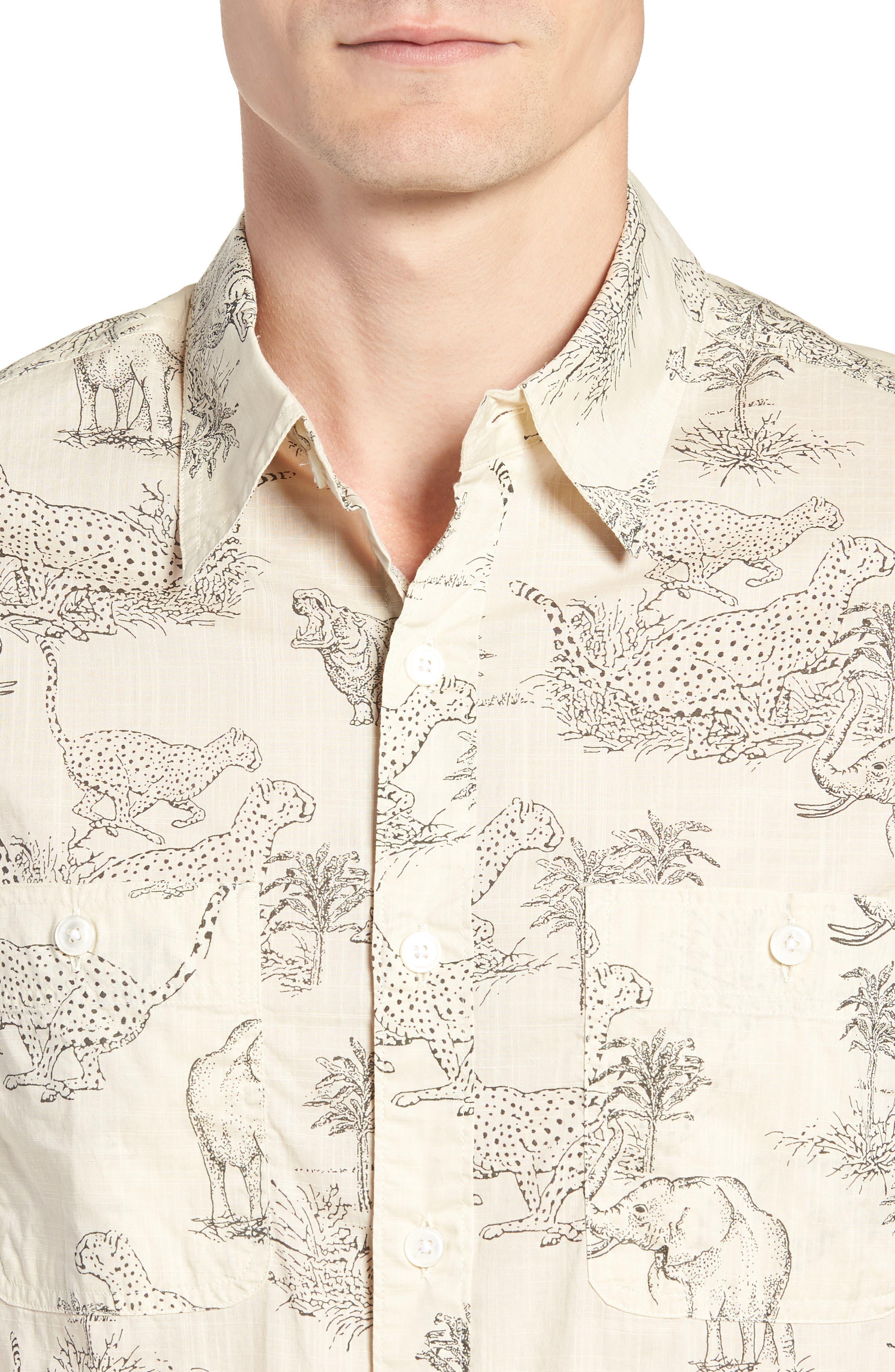 Regular Fit Safari Print Sport Shirt,                             Alternate thumbnail 2, color,                             Ecru