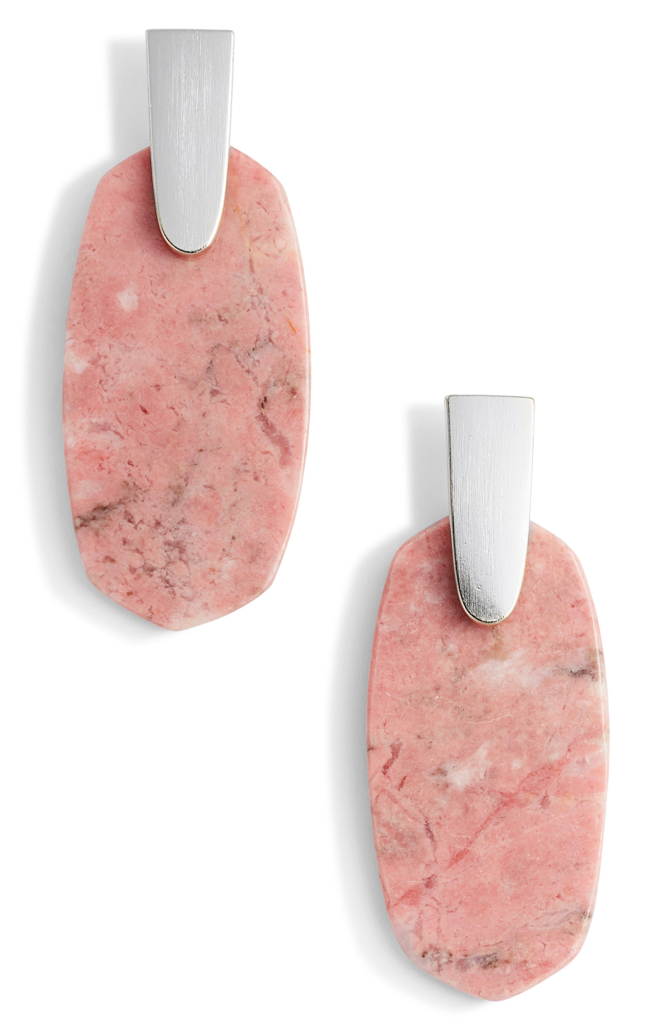 Aragon Drop Earrings,                         Main,                         color, Pink Rhodonite/ Gold
