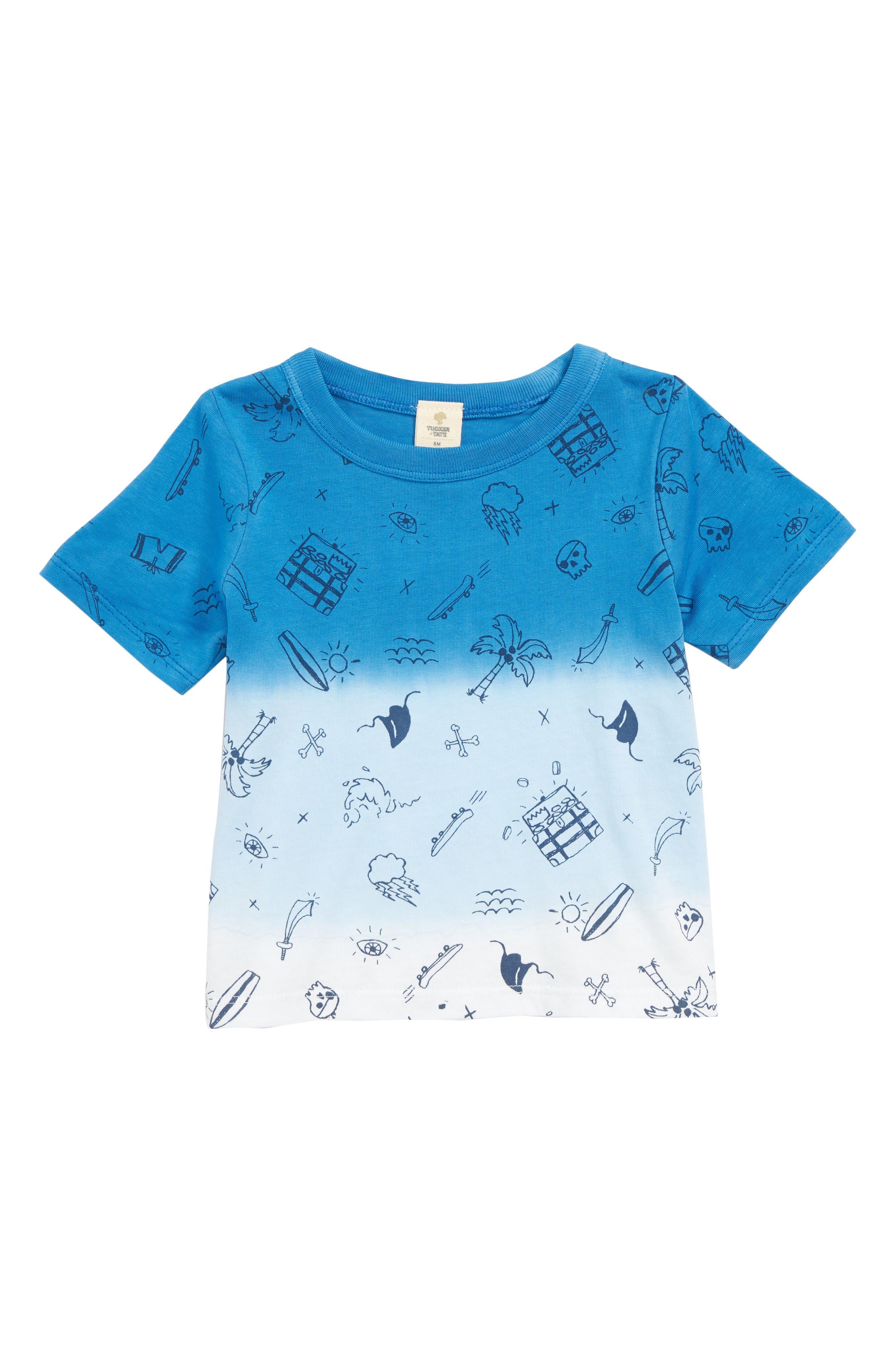 Ombré T-Shirt,                             Main thumbnail 1, color,                             Blue French Ocean Symbols