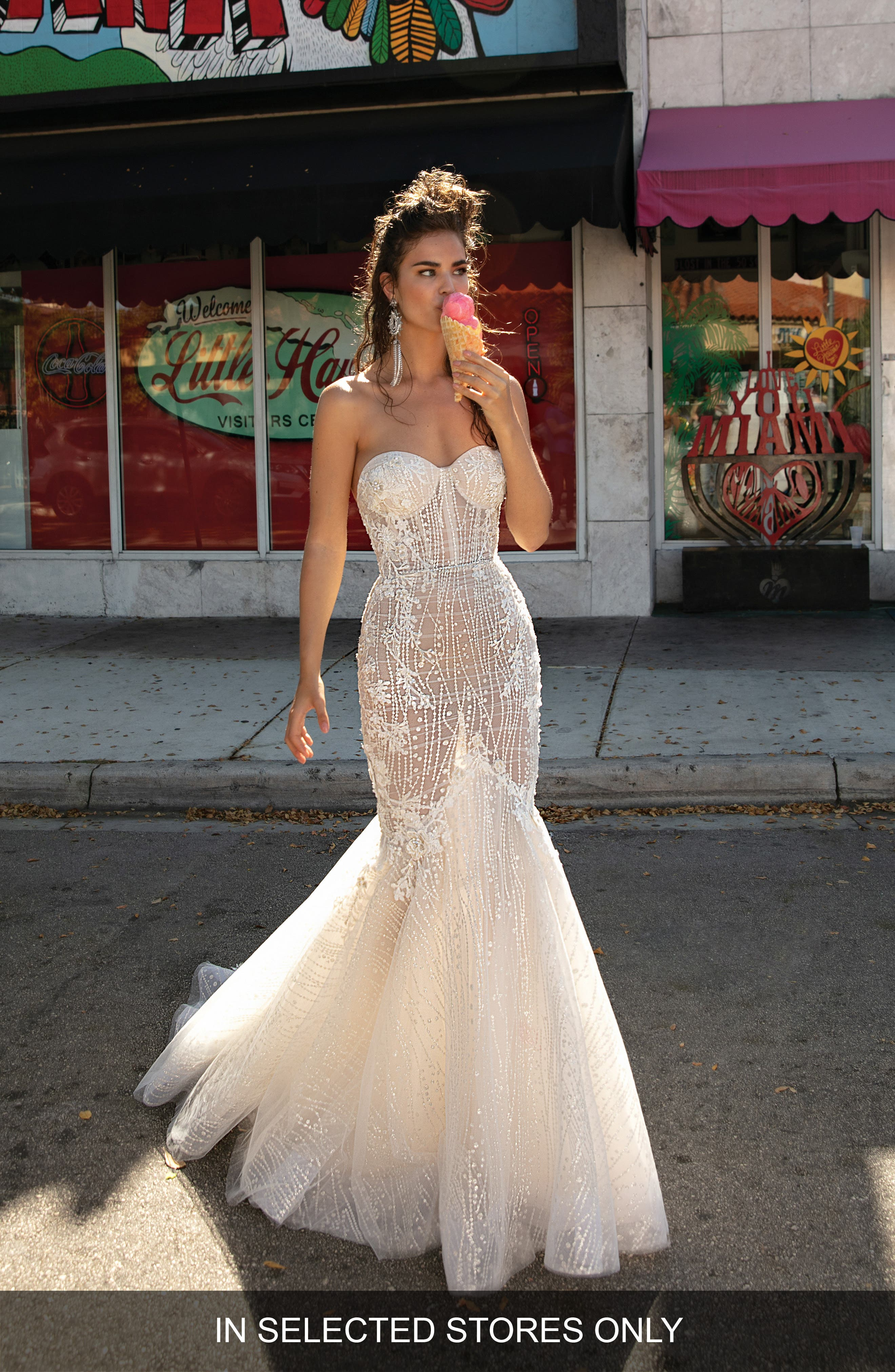 Beaded & Embroidered Strapless Mermaid Gown,                         Main,                         color, White