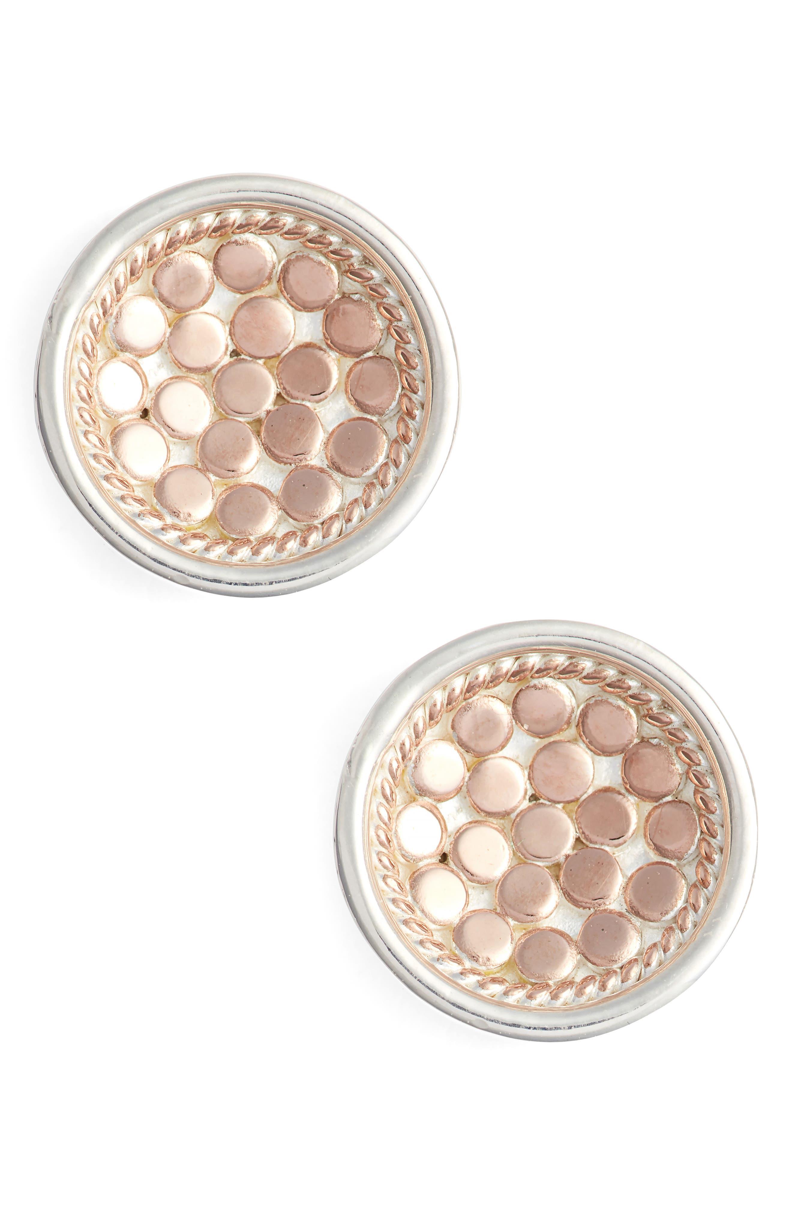 'Gili' Small Dish Stud Earrings,                             Main thumbnail 1, color,                             Rose Gold/ Silver