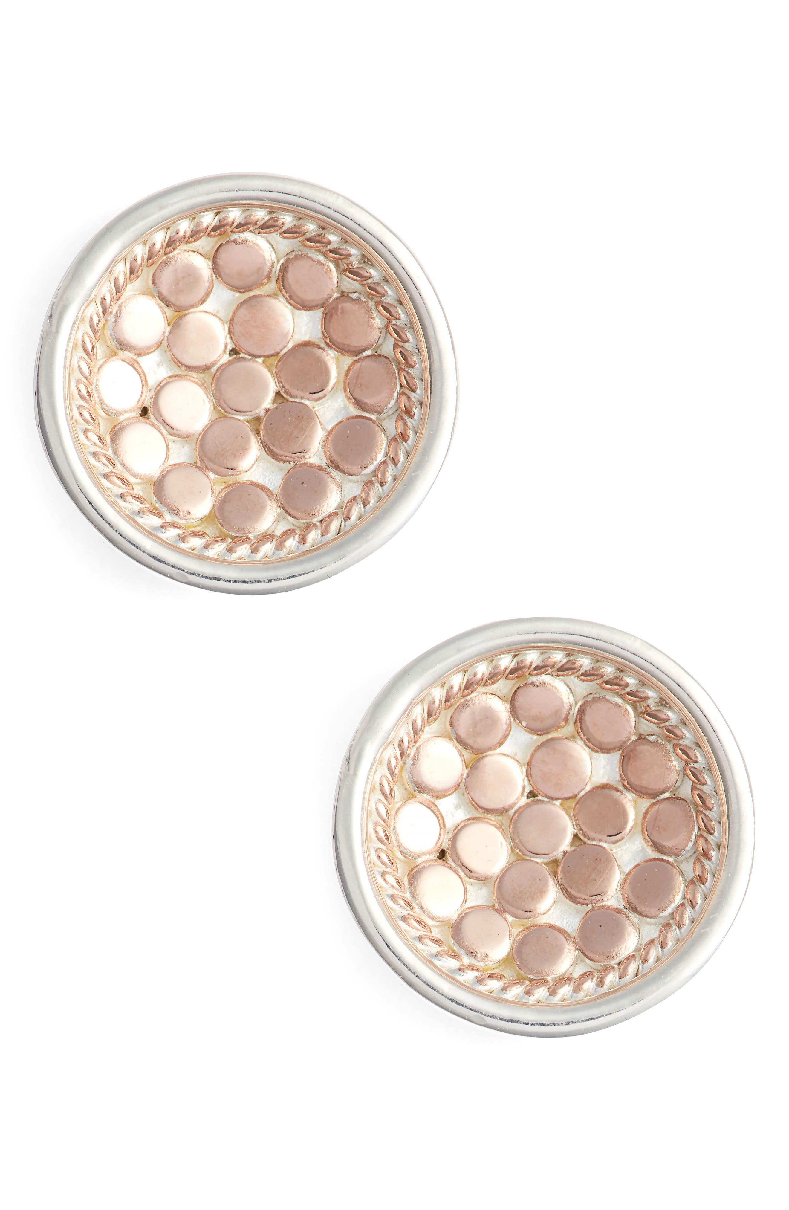 'Gili' Small Dish Stud Earrings,                         Main,                         color, Rose Gold/ Silver