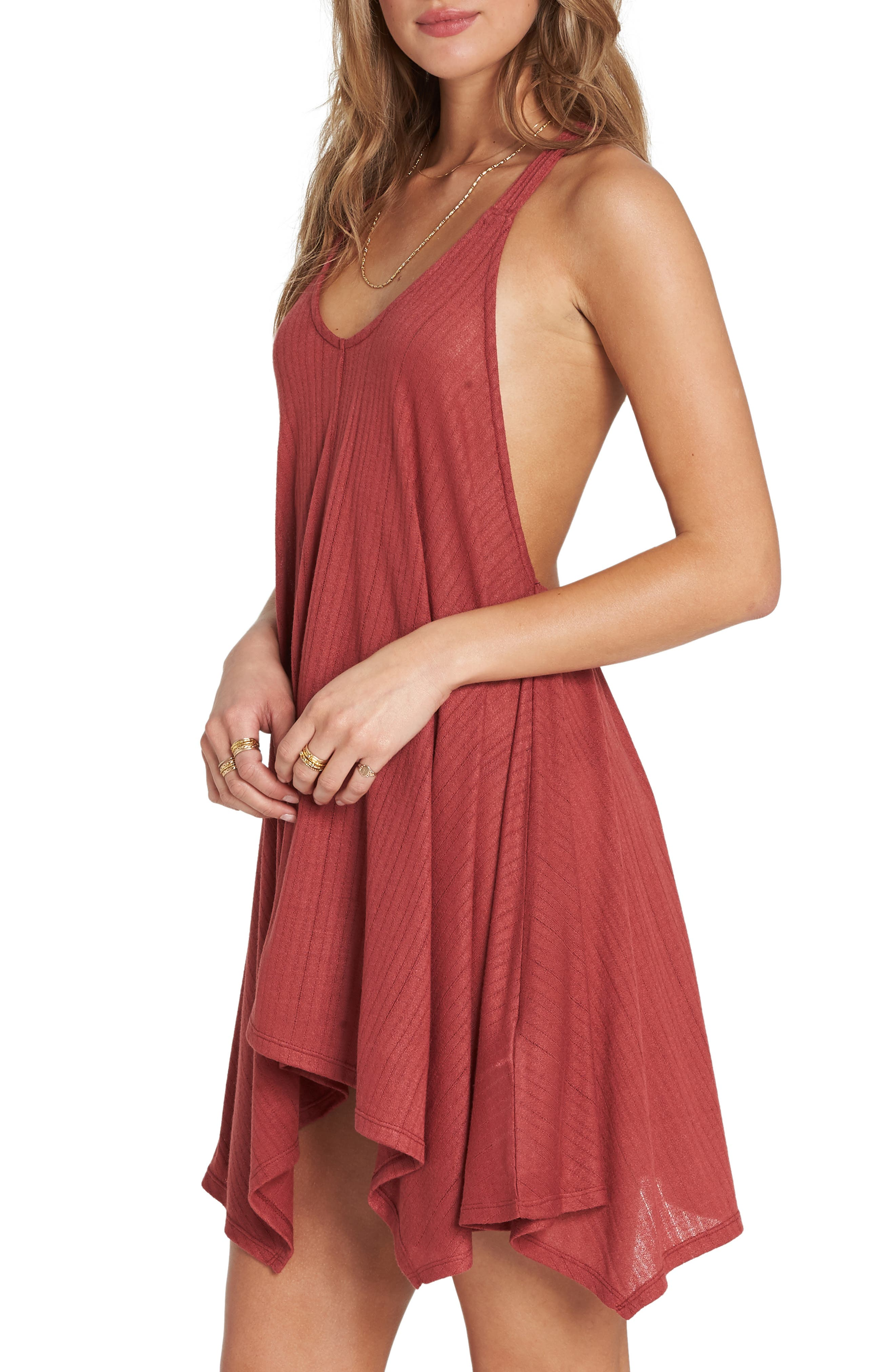 Twisted View Cover-Up Dress,                             Alternate thumbnail 3, color,                             Redwood