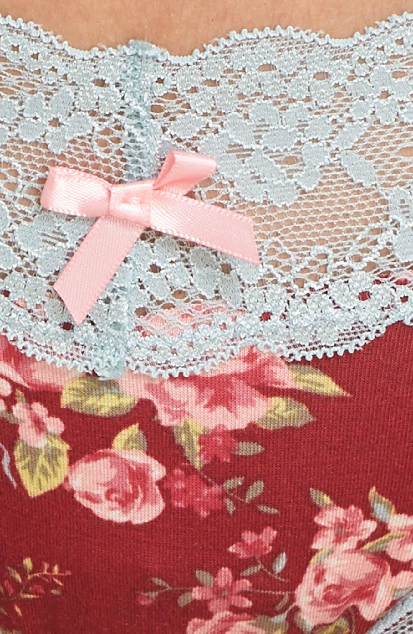 Lace Trim Low Rise Thong,                             Alternate thumbnail 5, color,                             Pomme Floral