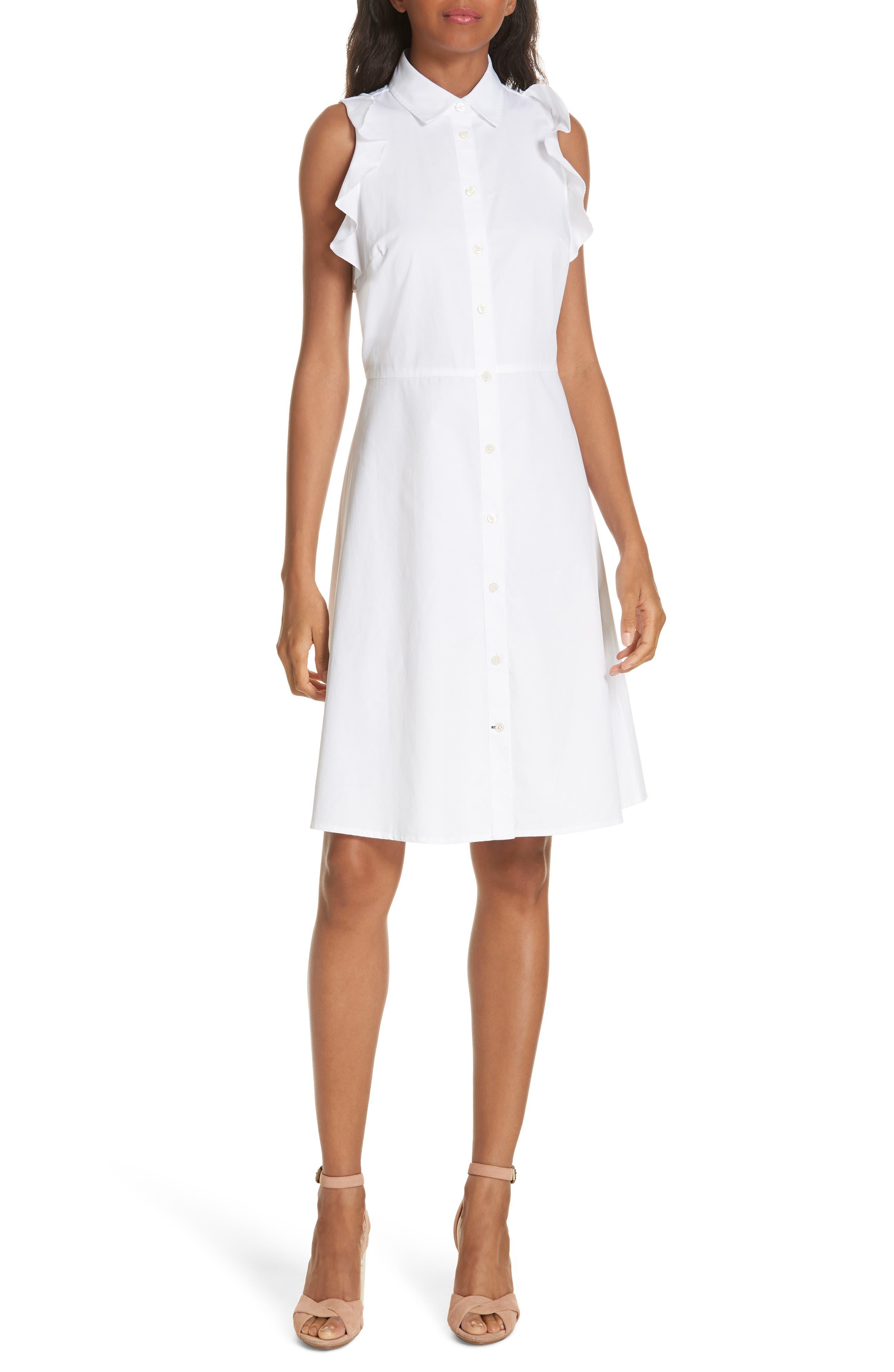 ruffle cotton poplin dress,                             Main thumbnail 1, color,                             Fresh White