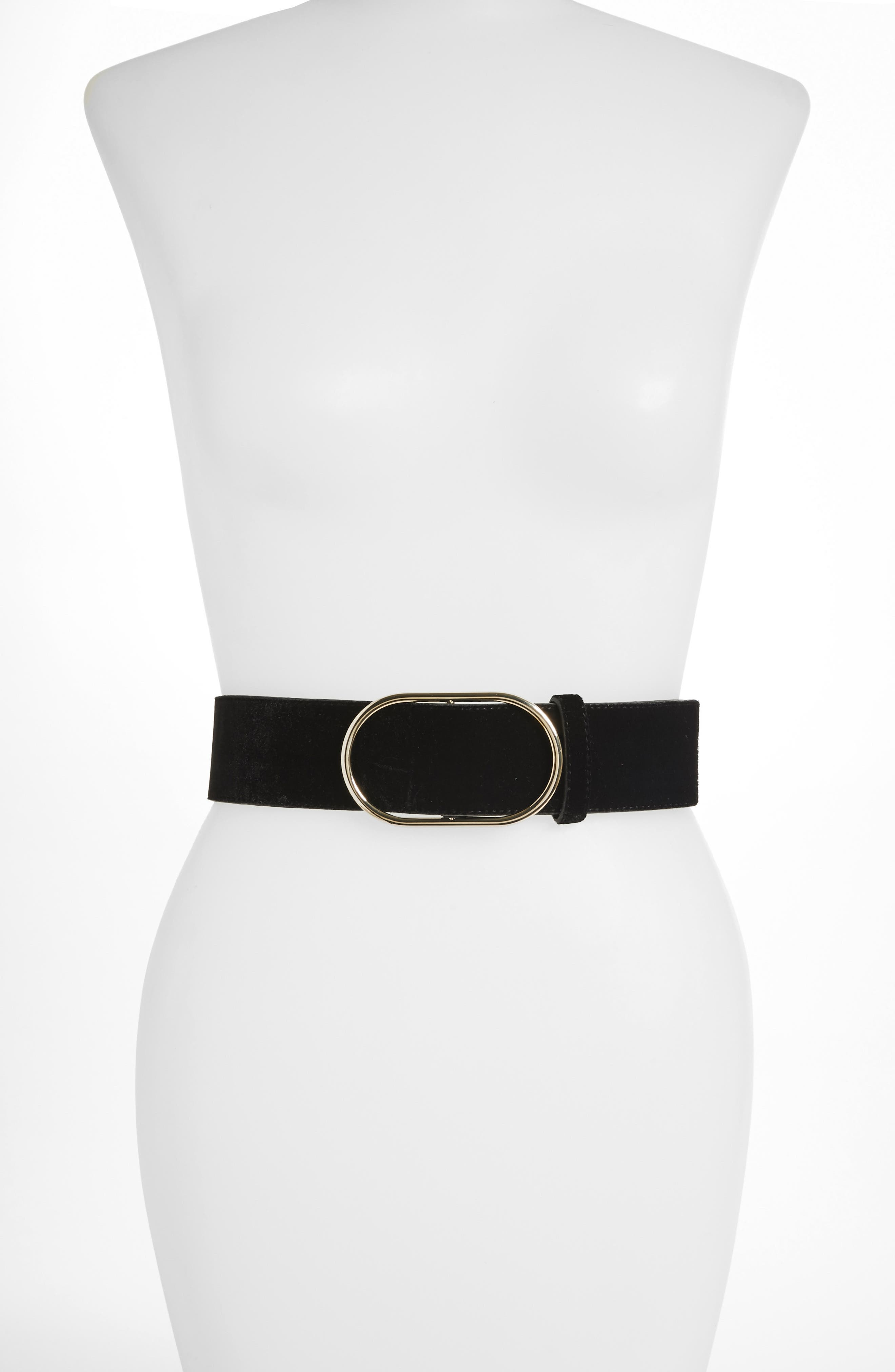 Oval-Ring Velvet Leather Belt in Noir