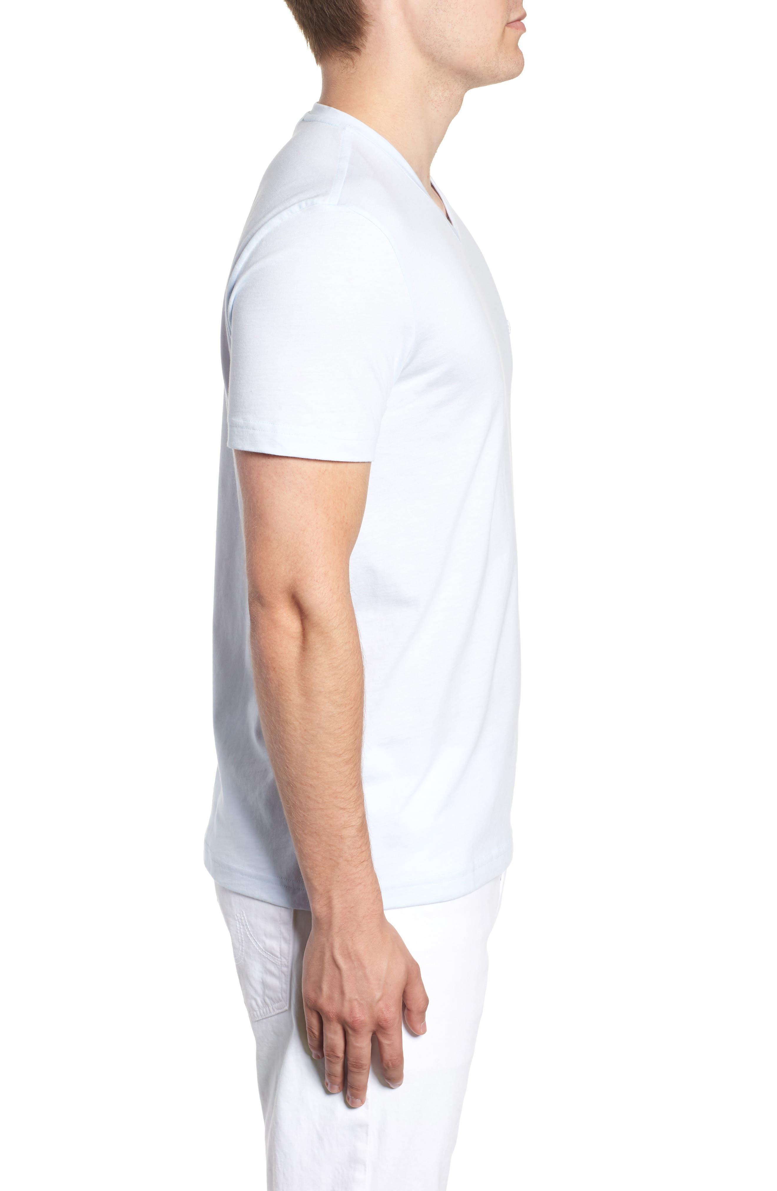 V-Neck Cotton T-Shirt,                             Alternate thumbnail 4, color,                             Rill/ White