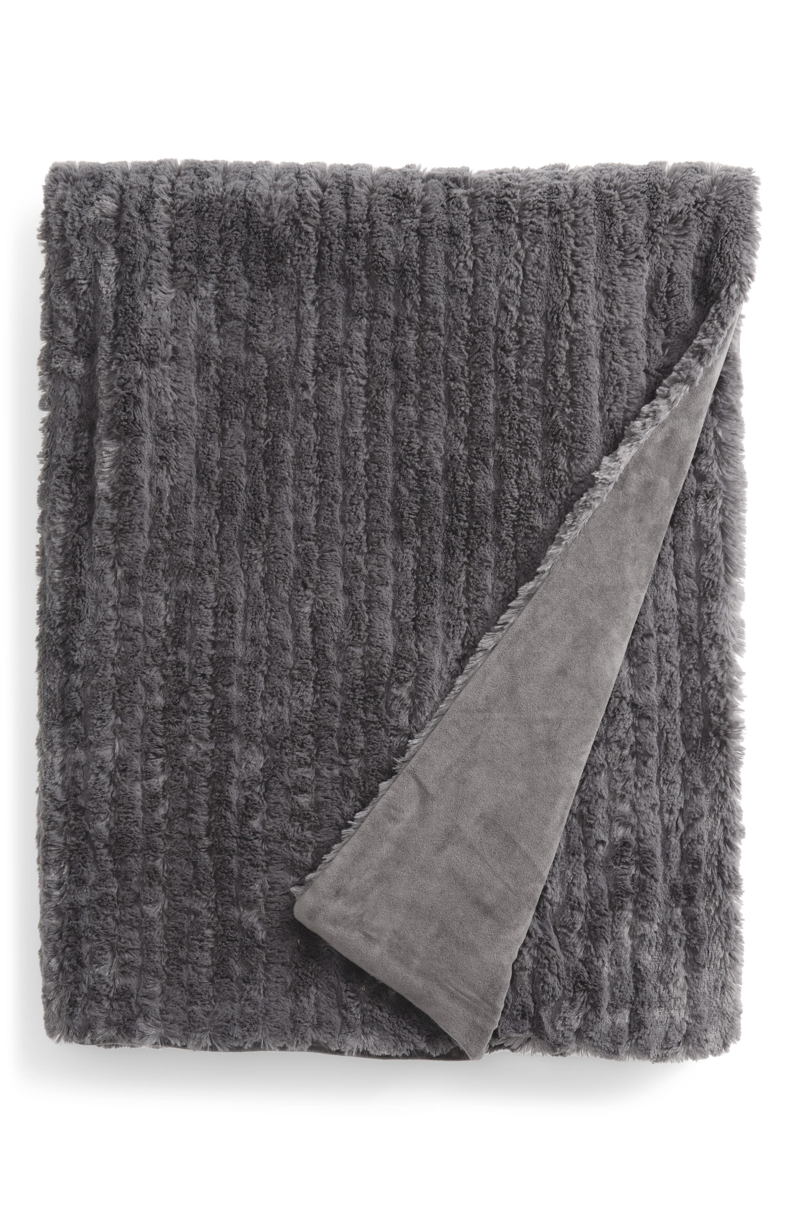 Soft Ribbed Plush Throw,                         Main,                         color, Grey Magnet