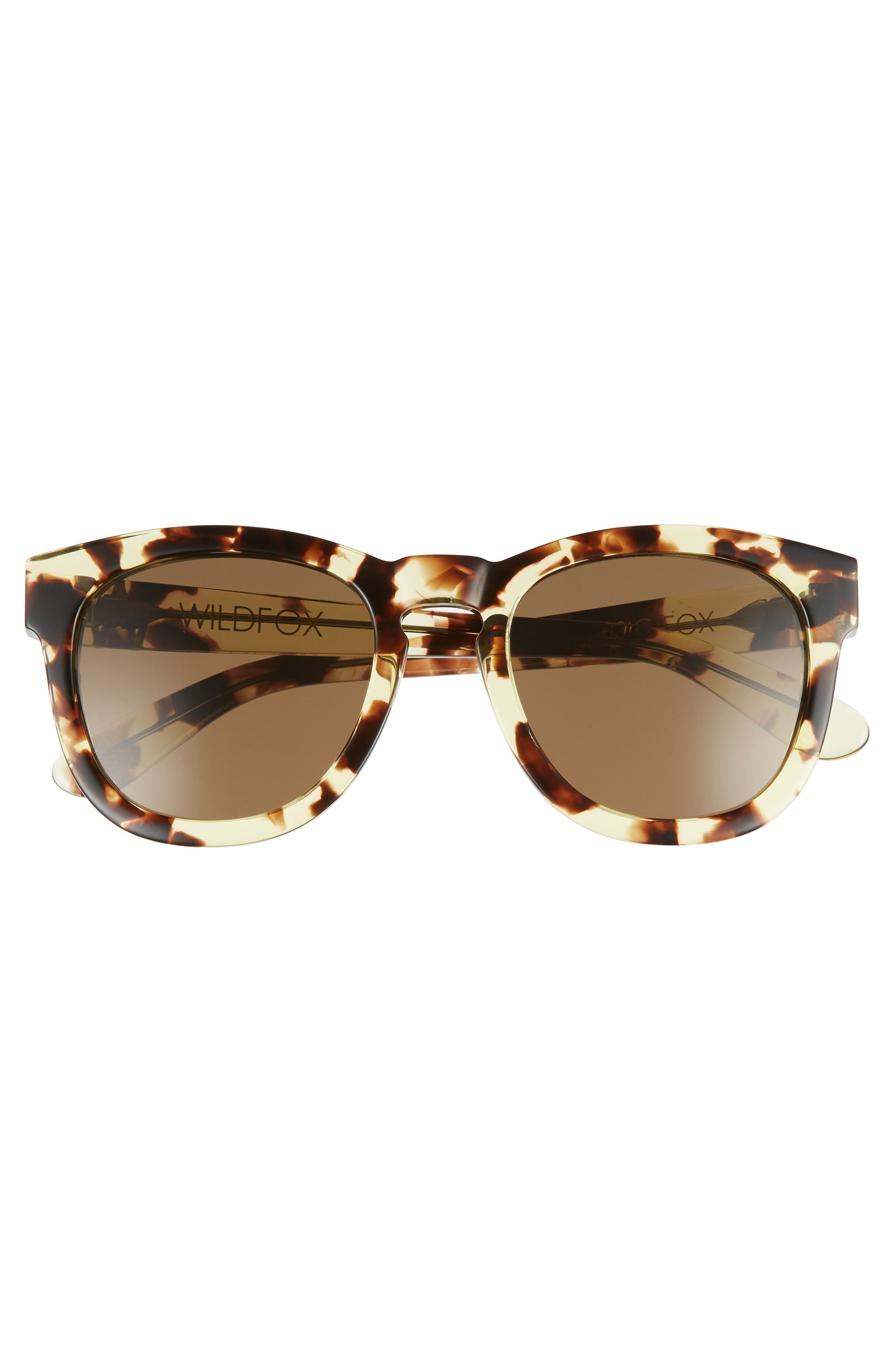 'Classic Fox' 50mm Retro Sunglasses,                             Alternate thumbnail 3, color,                             Amber Tortoise/ Brown Solid