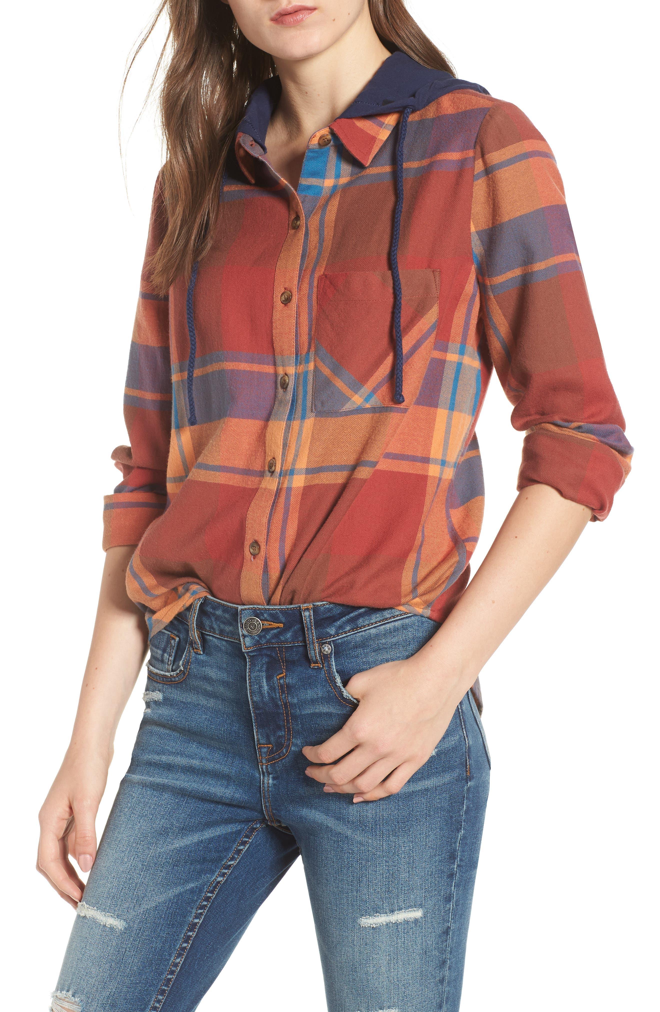 Hooded Plaid Shirt,                         Main,                         color, Blue Star Roselyn Plaid