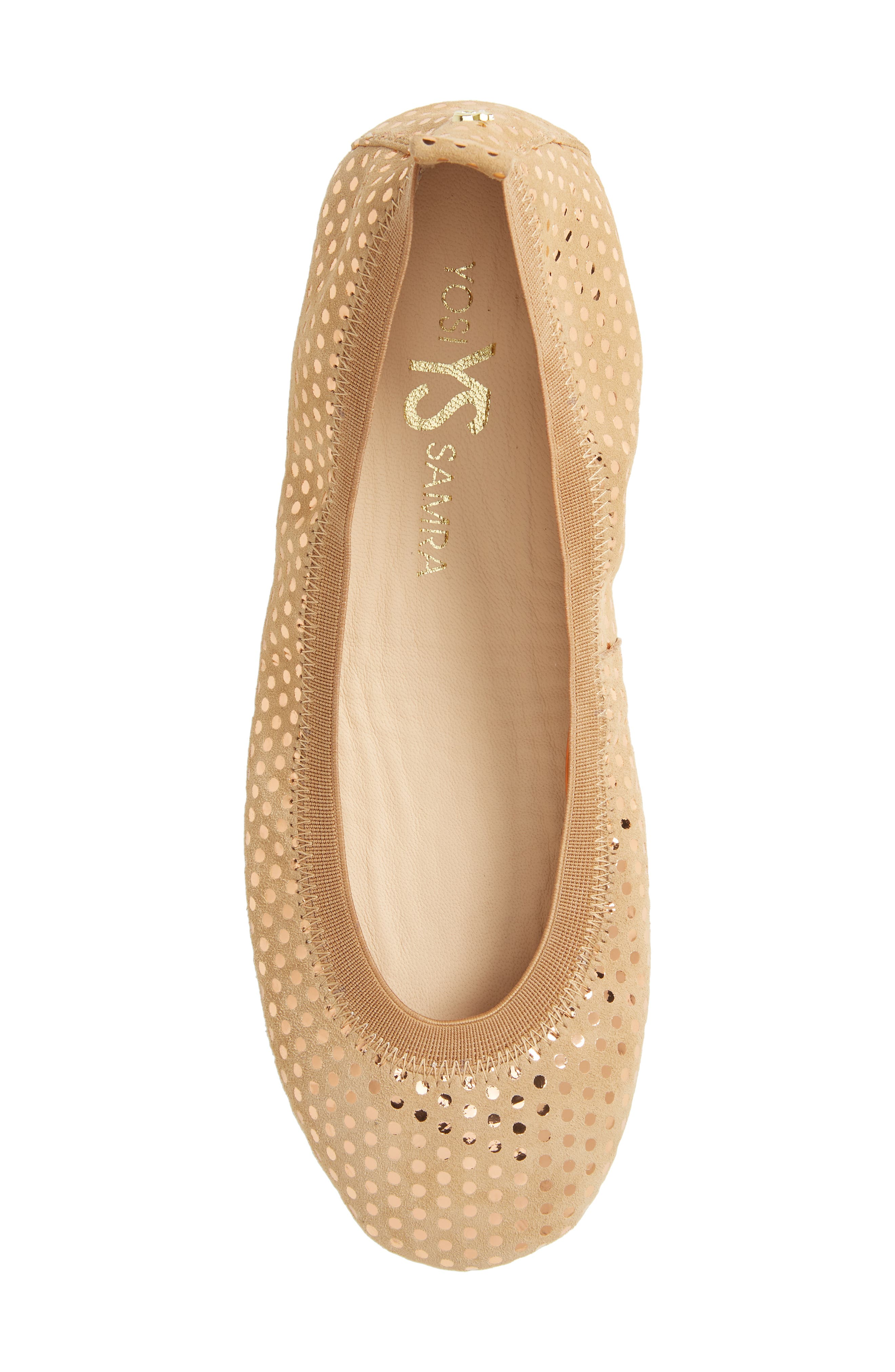 Samara Foldable Ballet Flat,                             Alternate thumbnail 6, color,                             Latte Suede