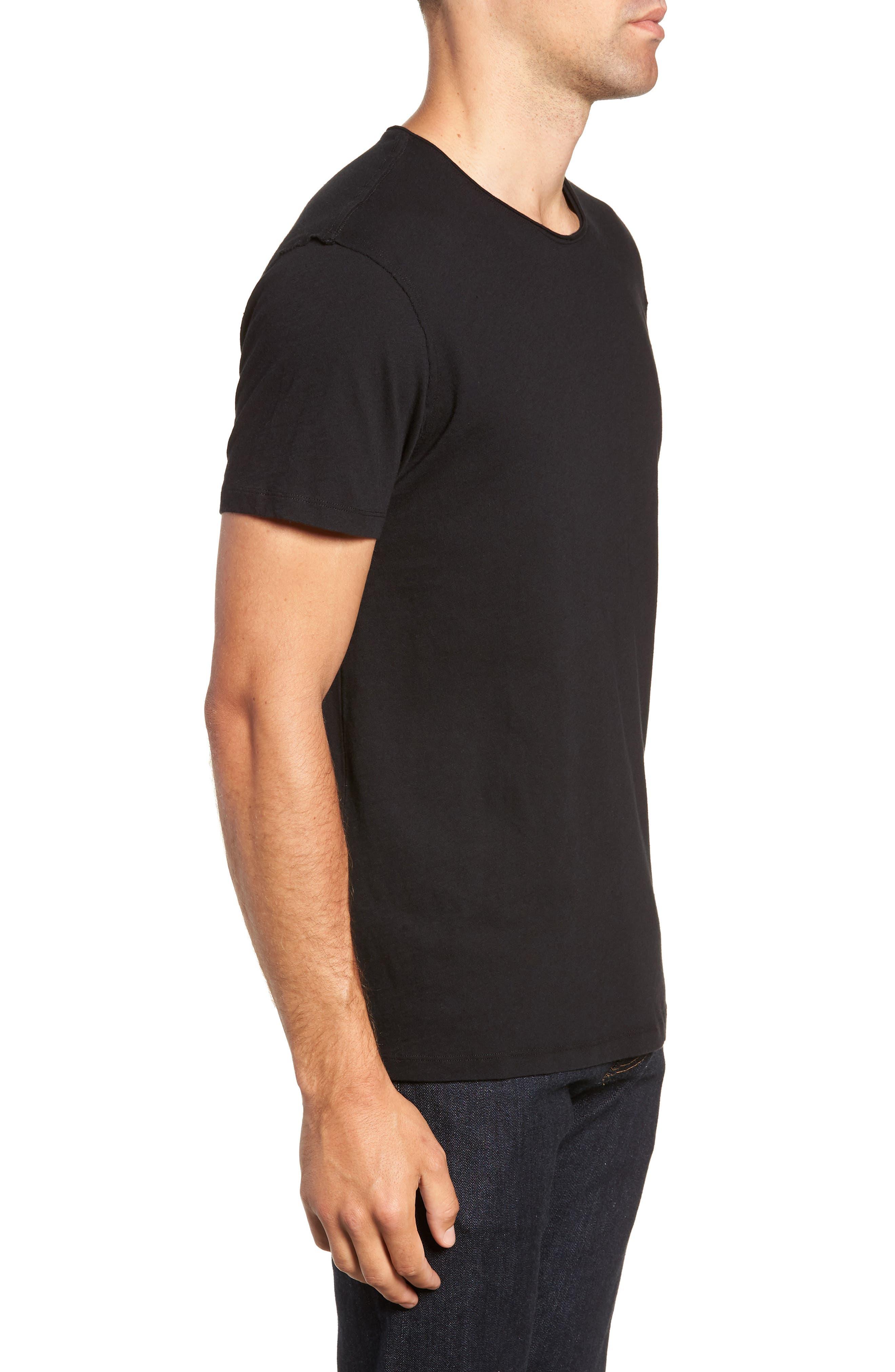 Slim Fit Crewneck T-Shirt,                             Alternate thumbnail 3, color,                             Jet Black