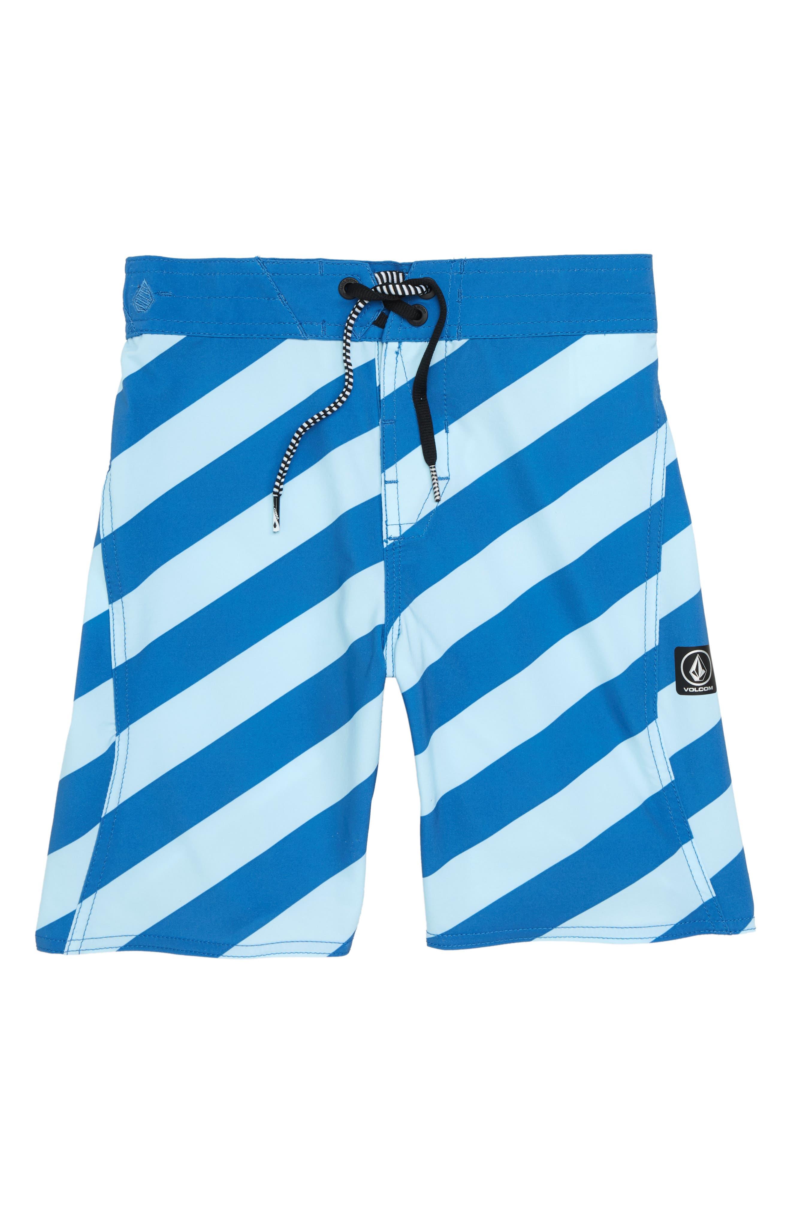 Stripey Swim Trunks,                         Main,                         color, Arctic Blue